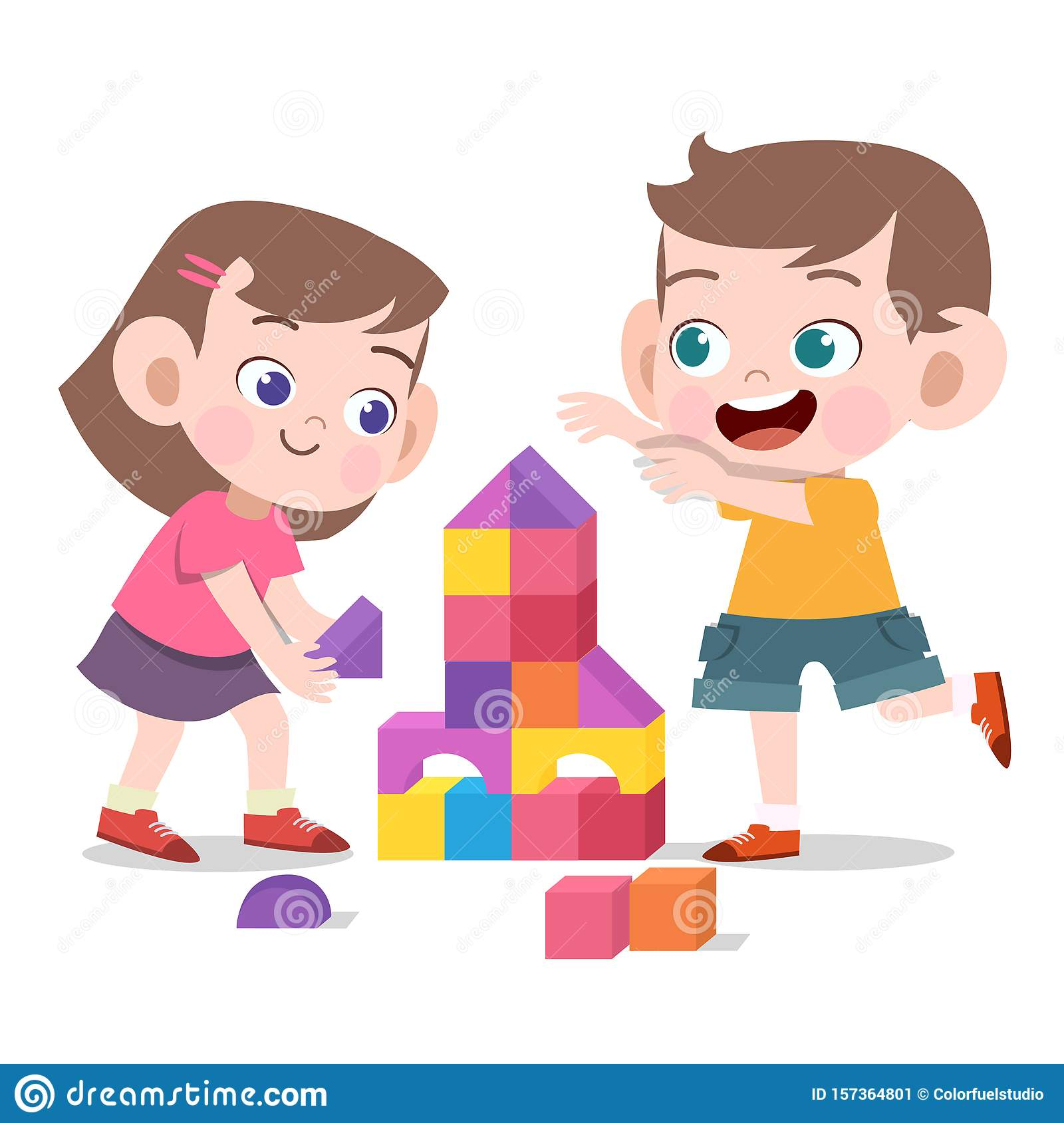 Kids Play With Toys Brick Vector Illustration Isolated Stock