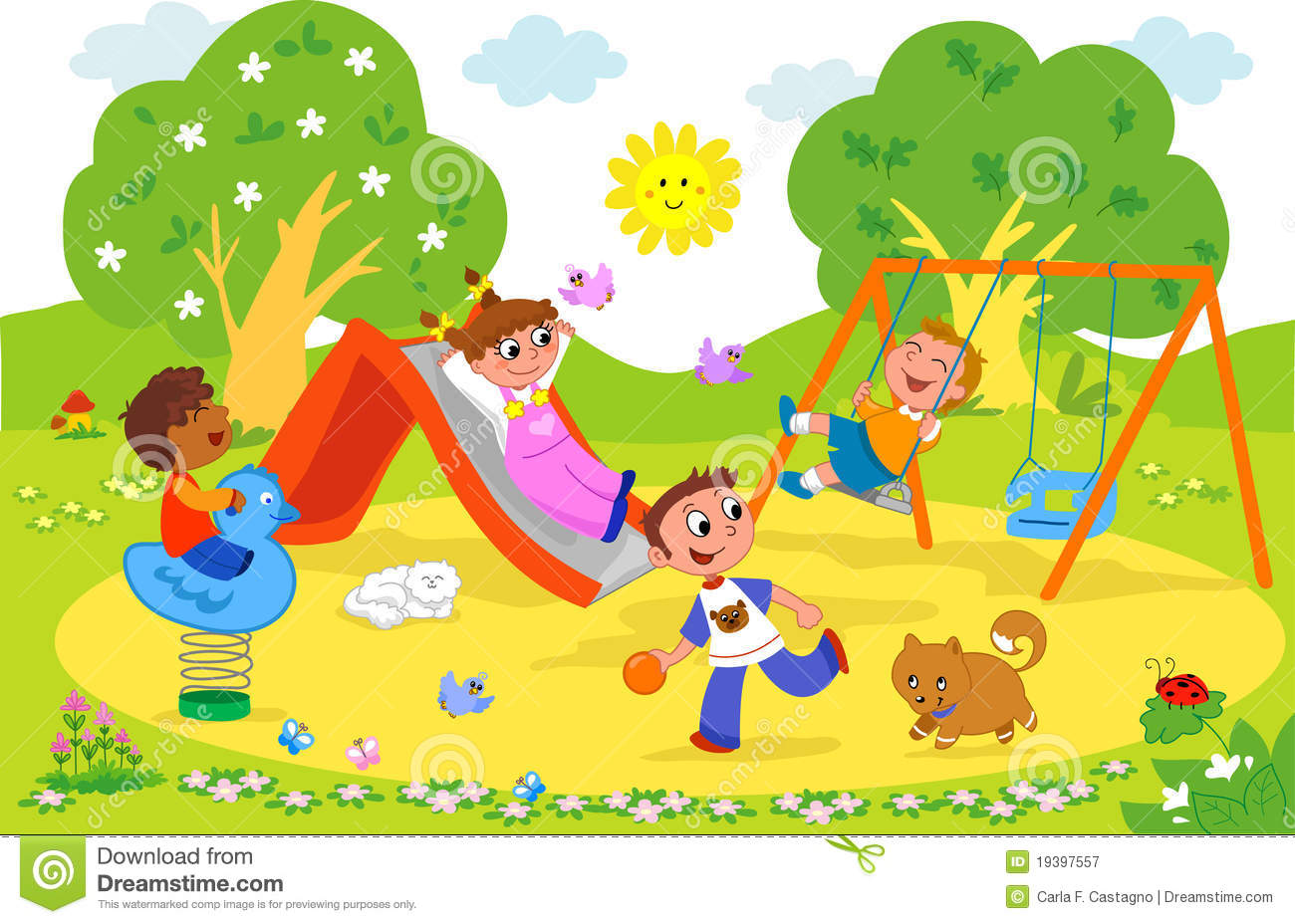 kids at the playground stock vector illustration of summer 19397557 rh dreamstime com playground clipart free Free Art Supplies
