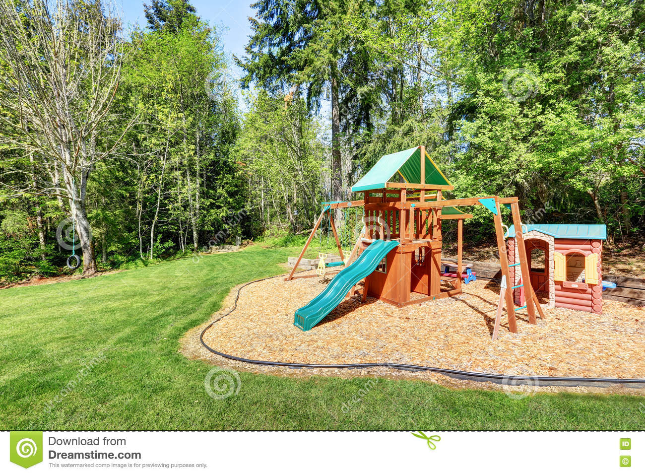 kids playground in the backyard of a house stock photo image