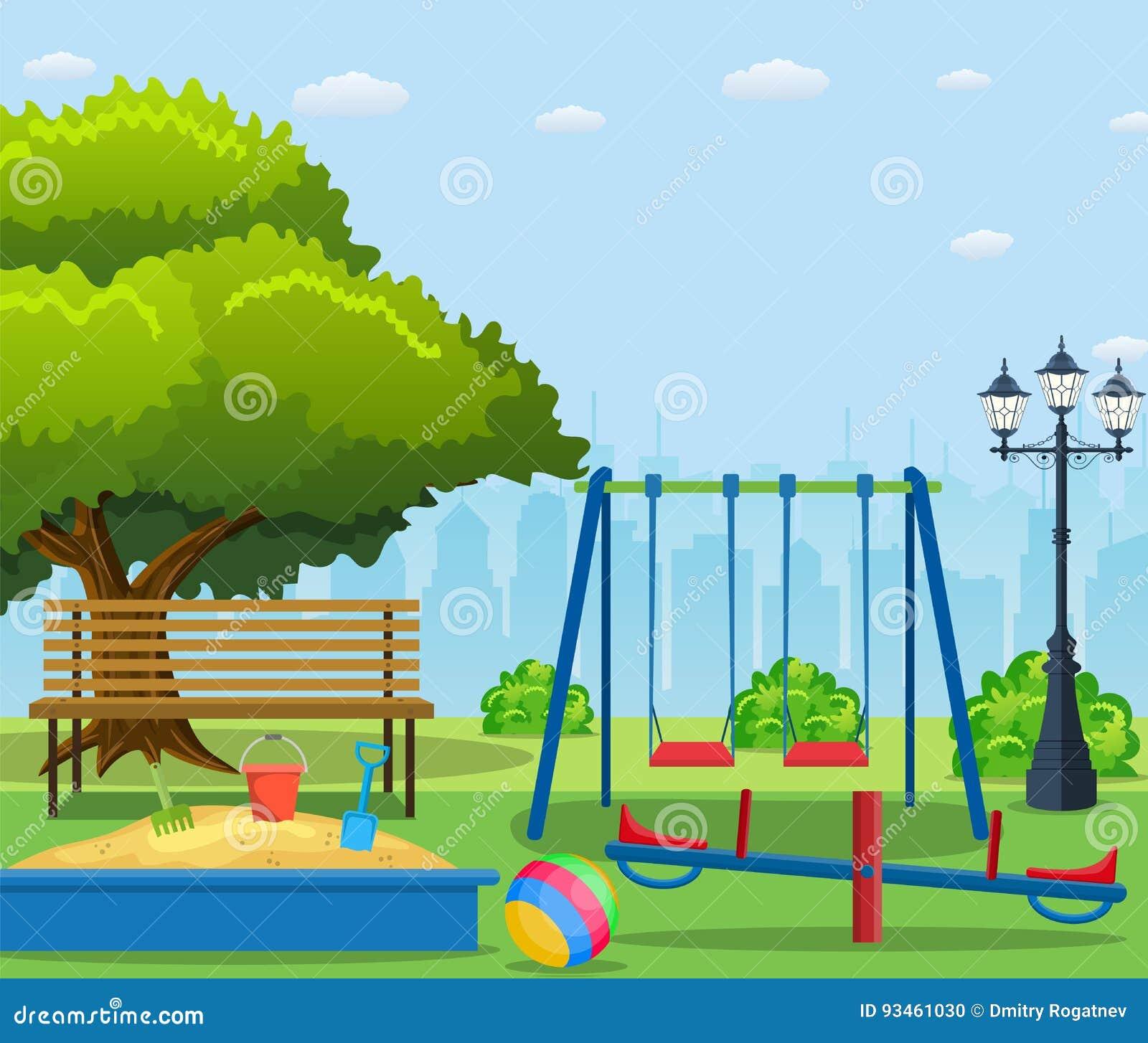 kids playground cartoon concept background cartoon vector