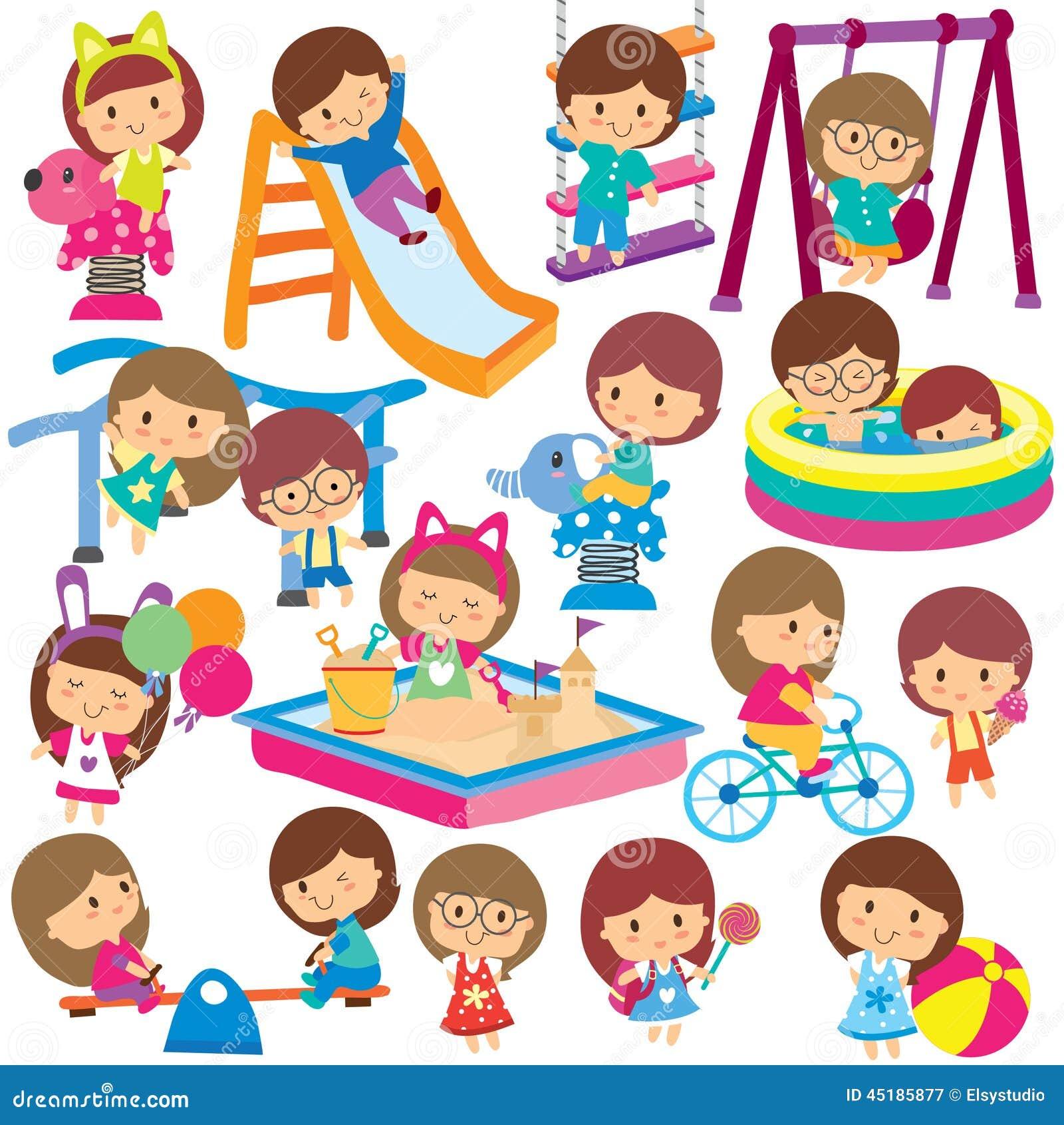 Kids At Playground Clip Art Set Stock Vector