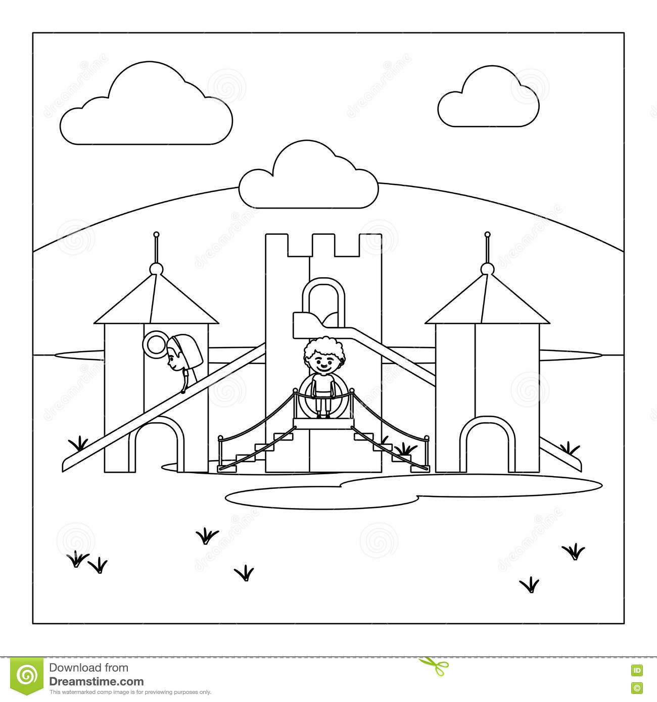 Coloring book page of a playground - Kids On Playground Coloring Book Page