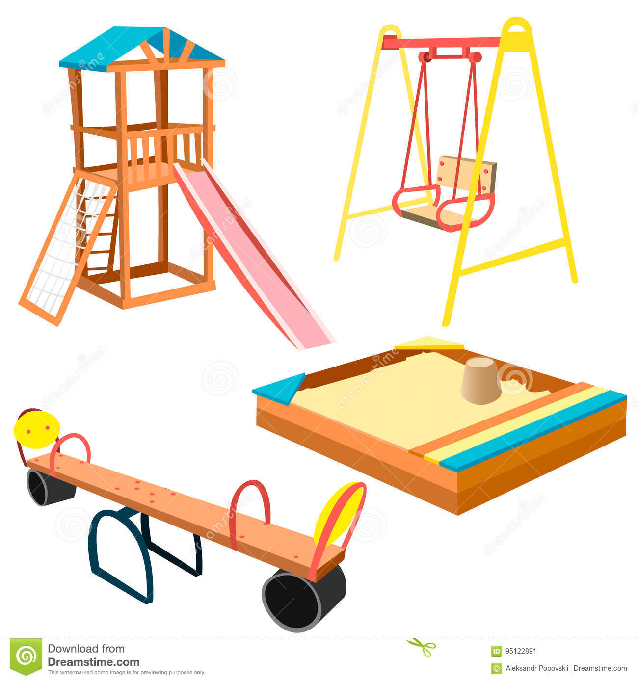 Kids Playground Equipment With Swings And Slides. Stock ...