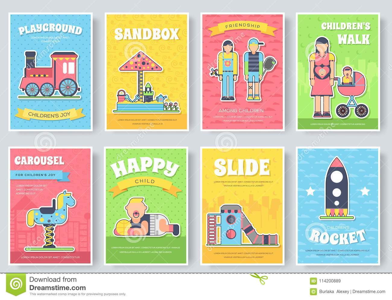 kids playground field brochure cards set. staff equipment template