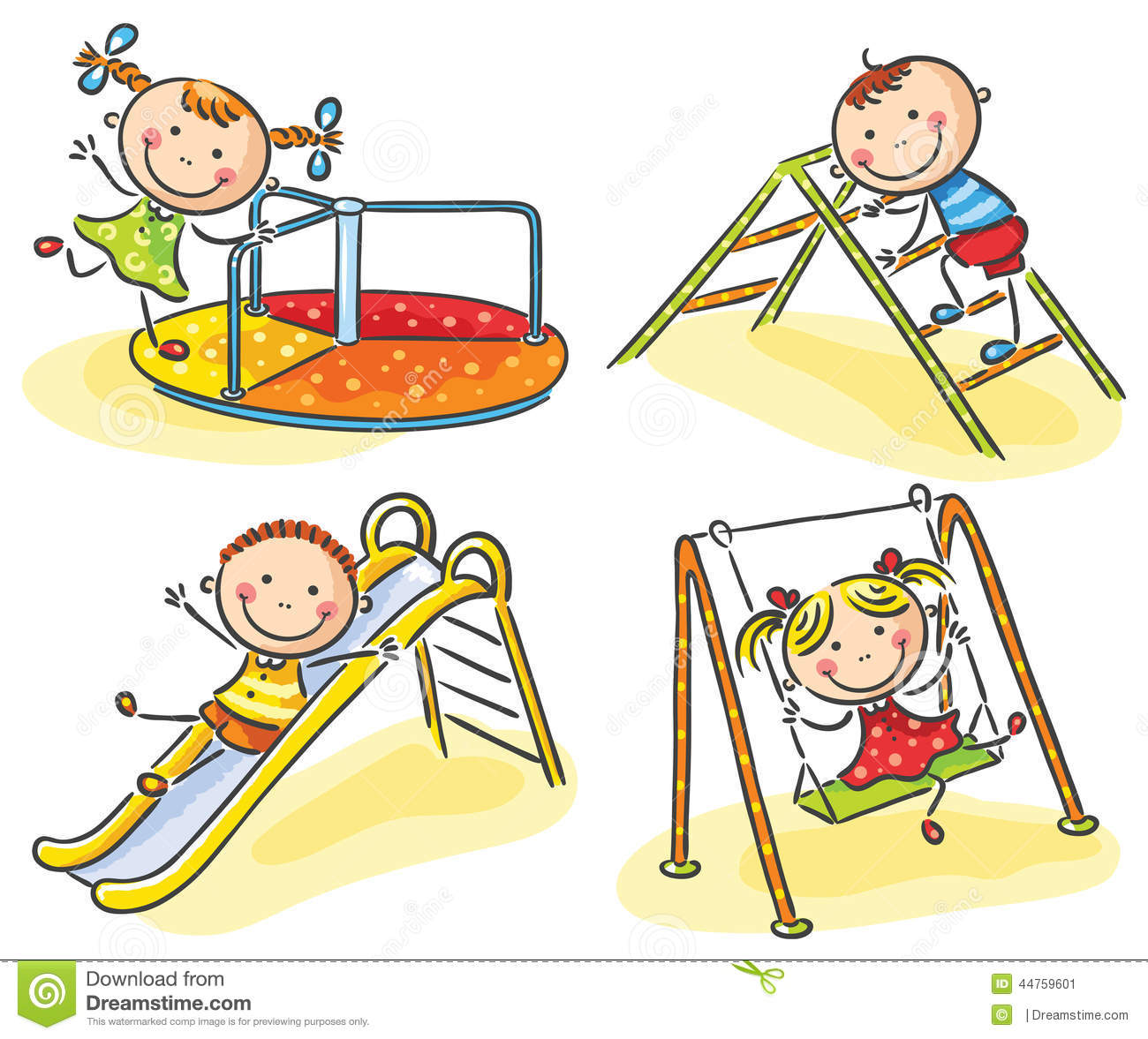 Kids On Playground Stock Vector - Image: 44759601
