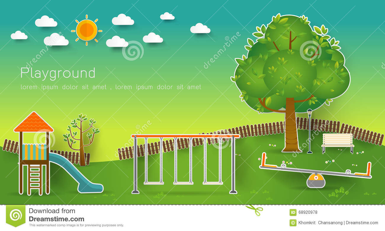 Cartoon Urban Park Kids Playground Vector Vector
