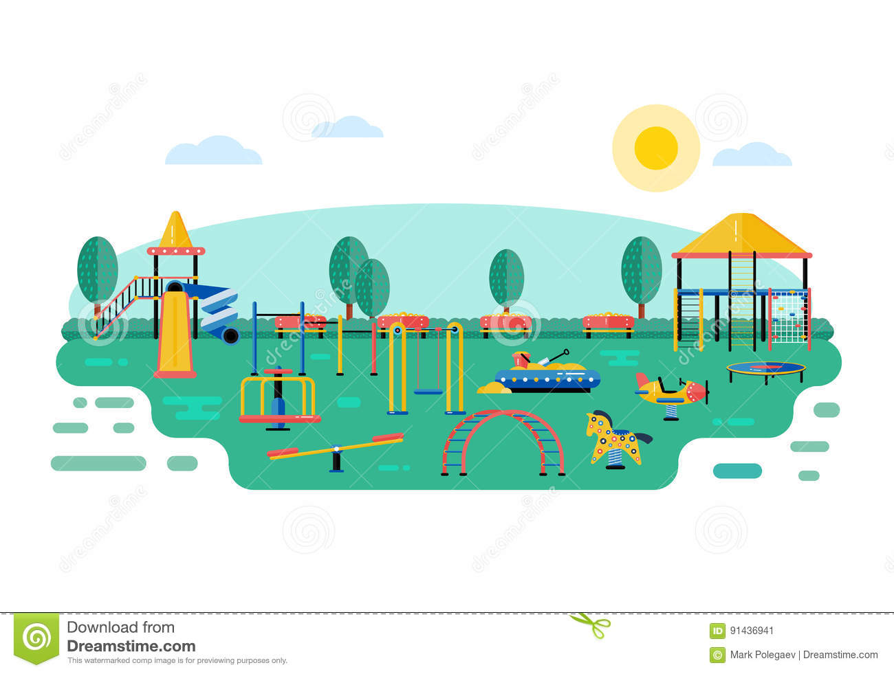 cartoon urban park kids playground vector vector Park Setting park bench clip art b/w