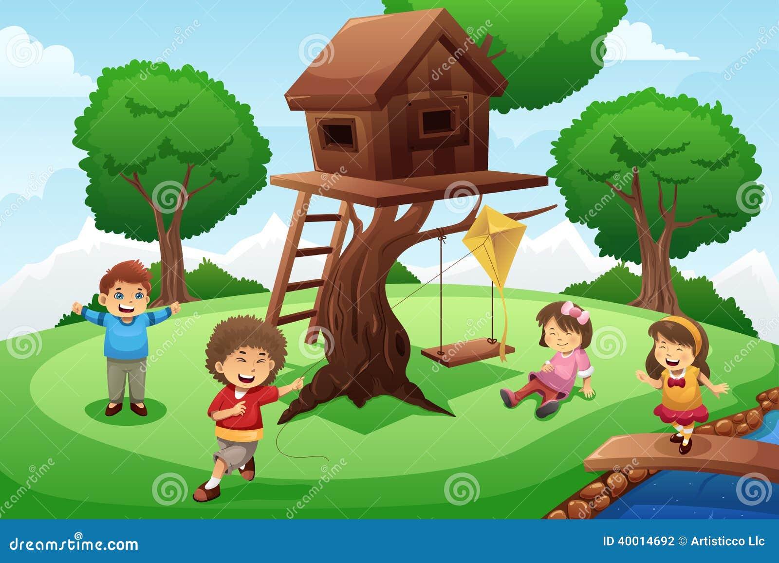Kids Playing Around Tree House Stock Vector Image 40014692