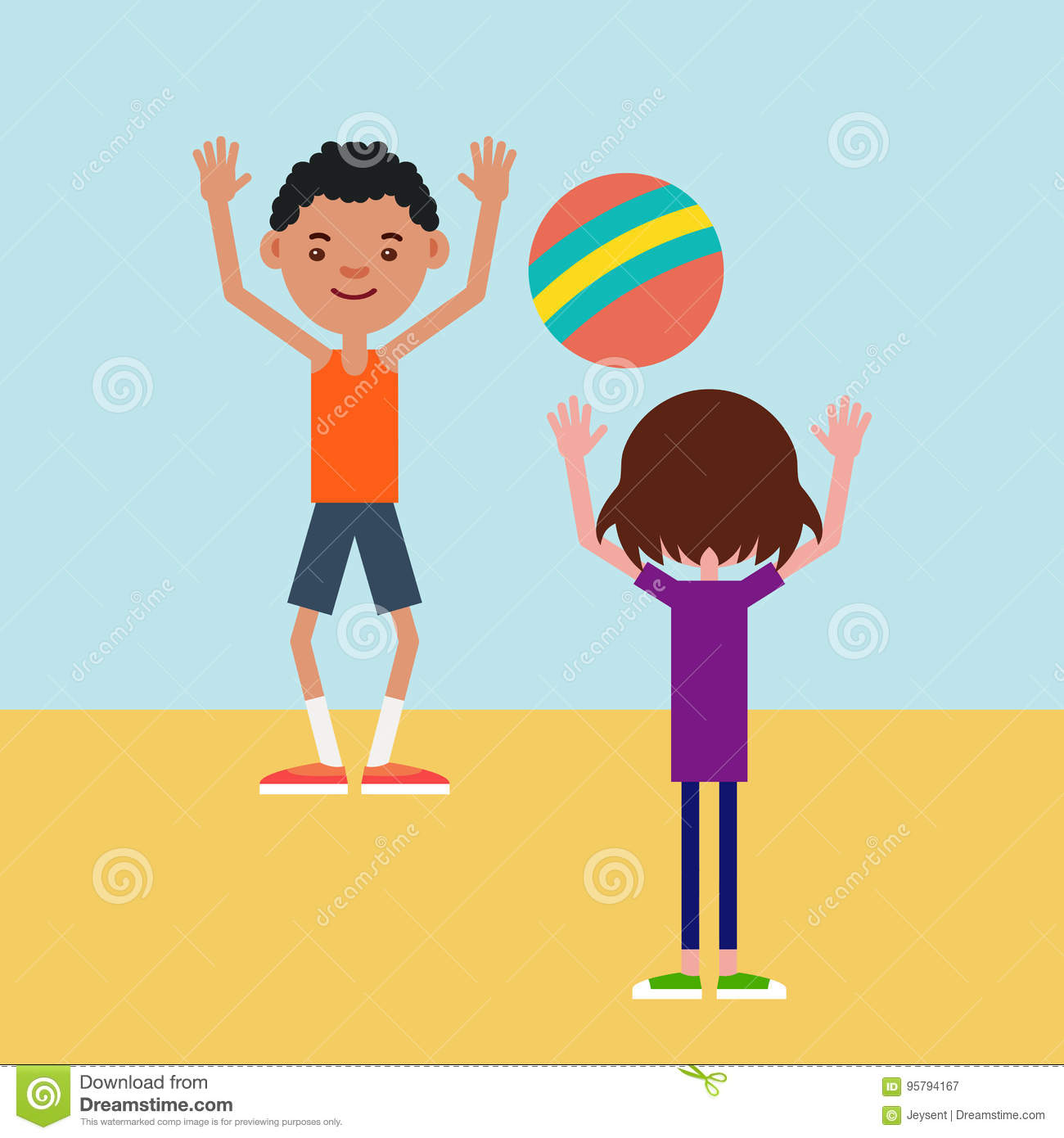 Kids Playing Ball On A Sports Field Stock Vector