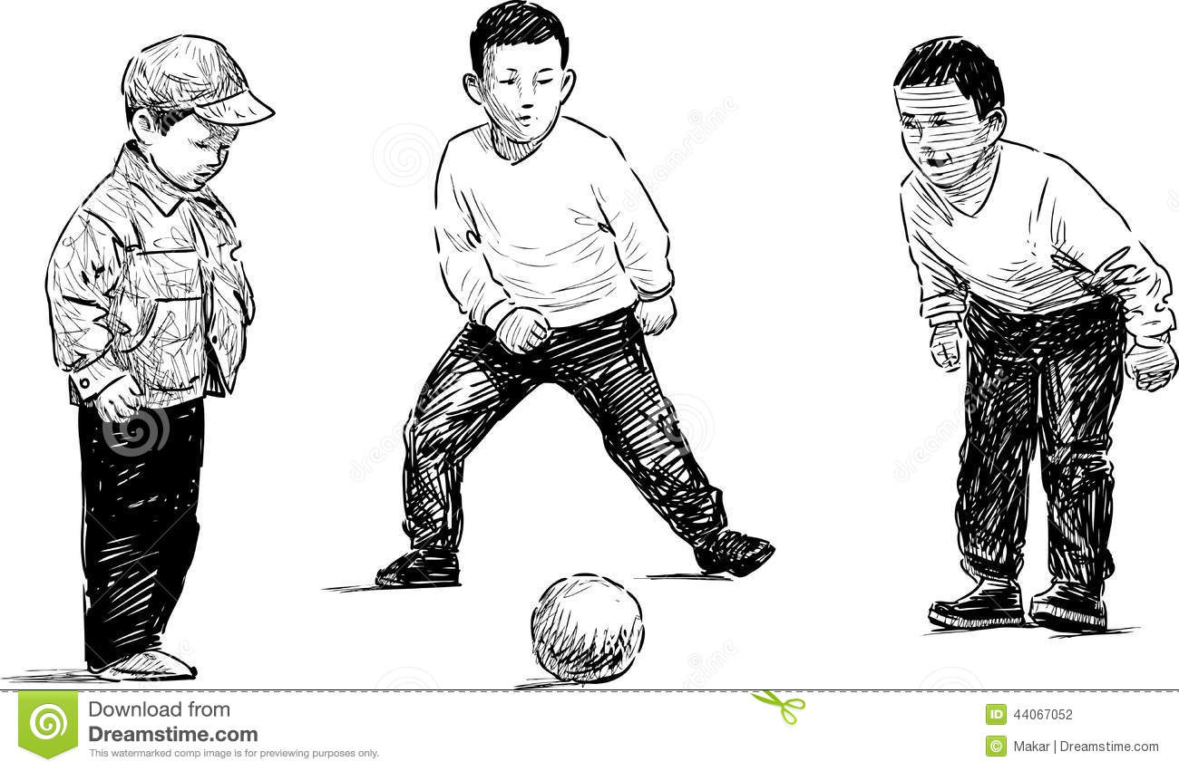 ball playing sketch soccer kid - Sketch Images For Kids