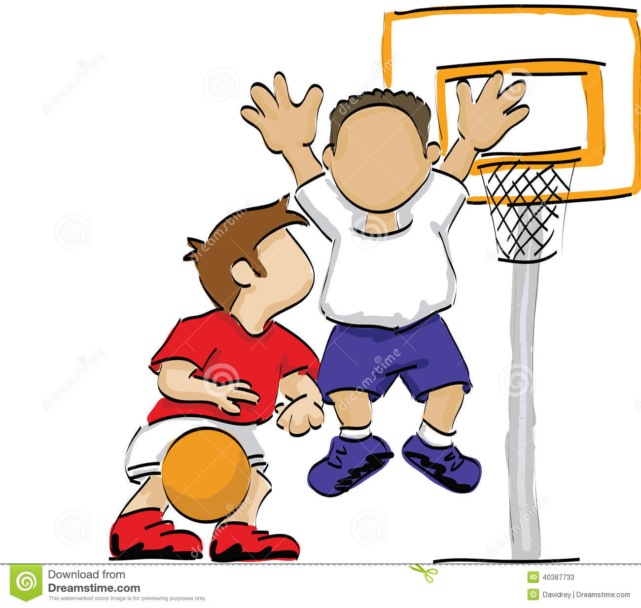 Kids playing basketball stock vector. Illustration of ...