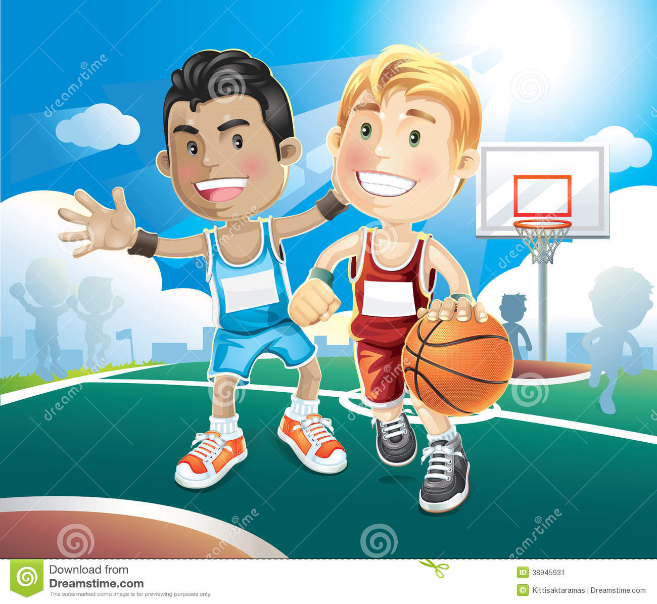 Cartoon Characters Playing Basketball : Kids playing basketball on outdoor court stock vector