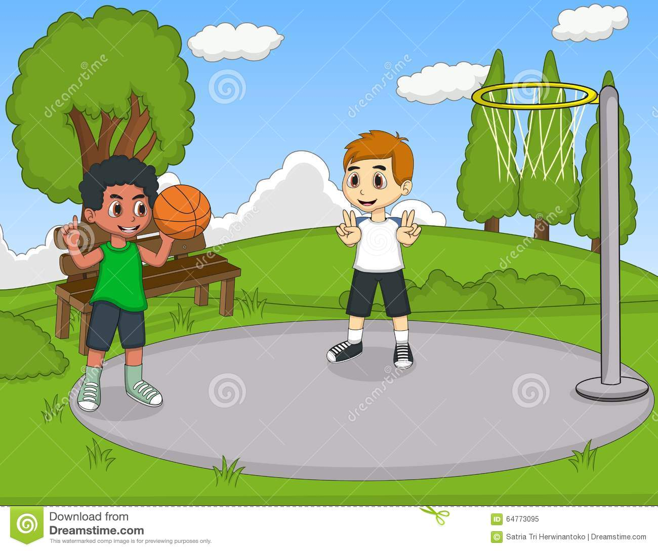 Kids Playing Basketball In The Park Stock Vector Image
