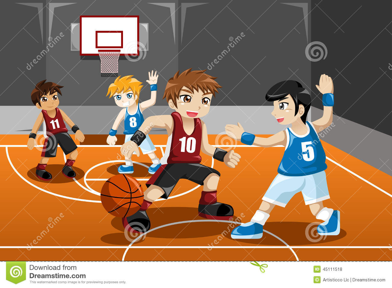 vector illustration of group of kids playing basketball indoor.