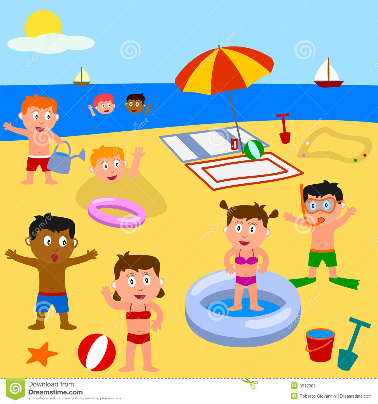 Kids Playing On The Beach Illustration 8512301