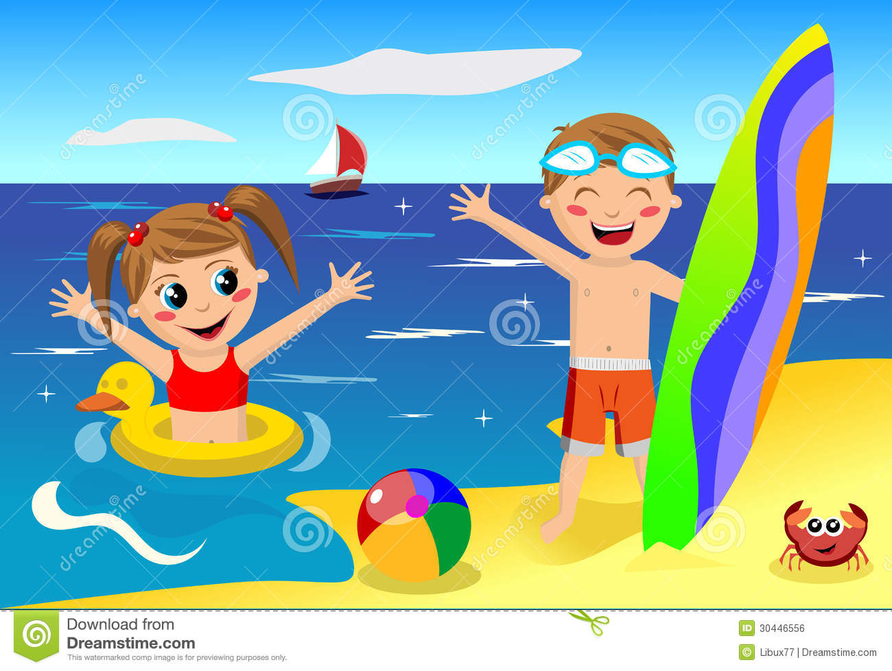featuring little girl and boy having leisure time at the beach    Kids Playing On The Beach Clipart