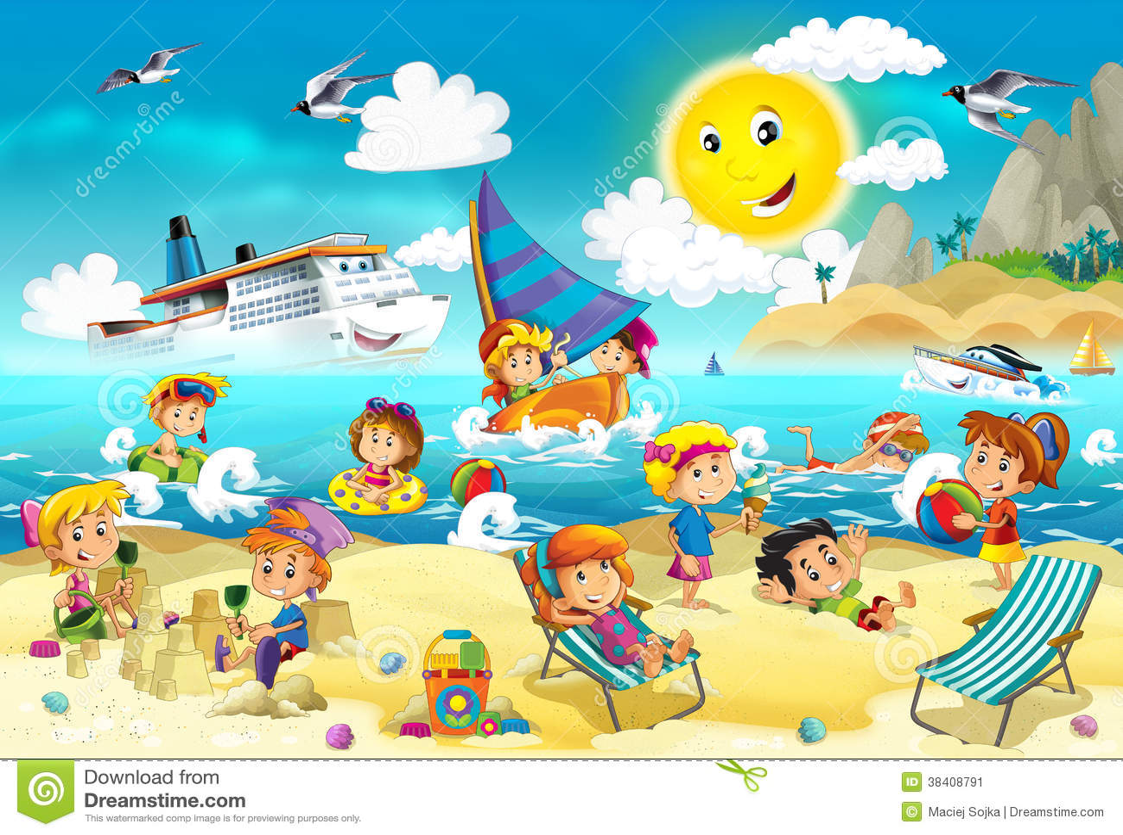 kids playing at the beach ocean stock illustration illustration rh dreamstime com Dolphin Clip Art Ocean at Might