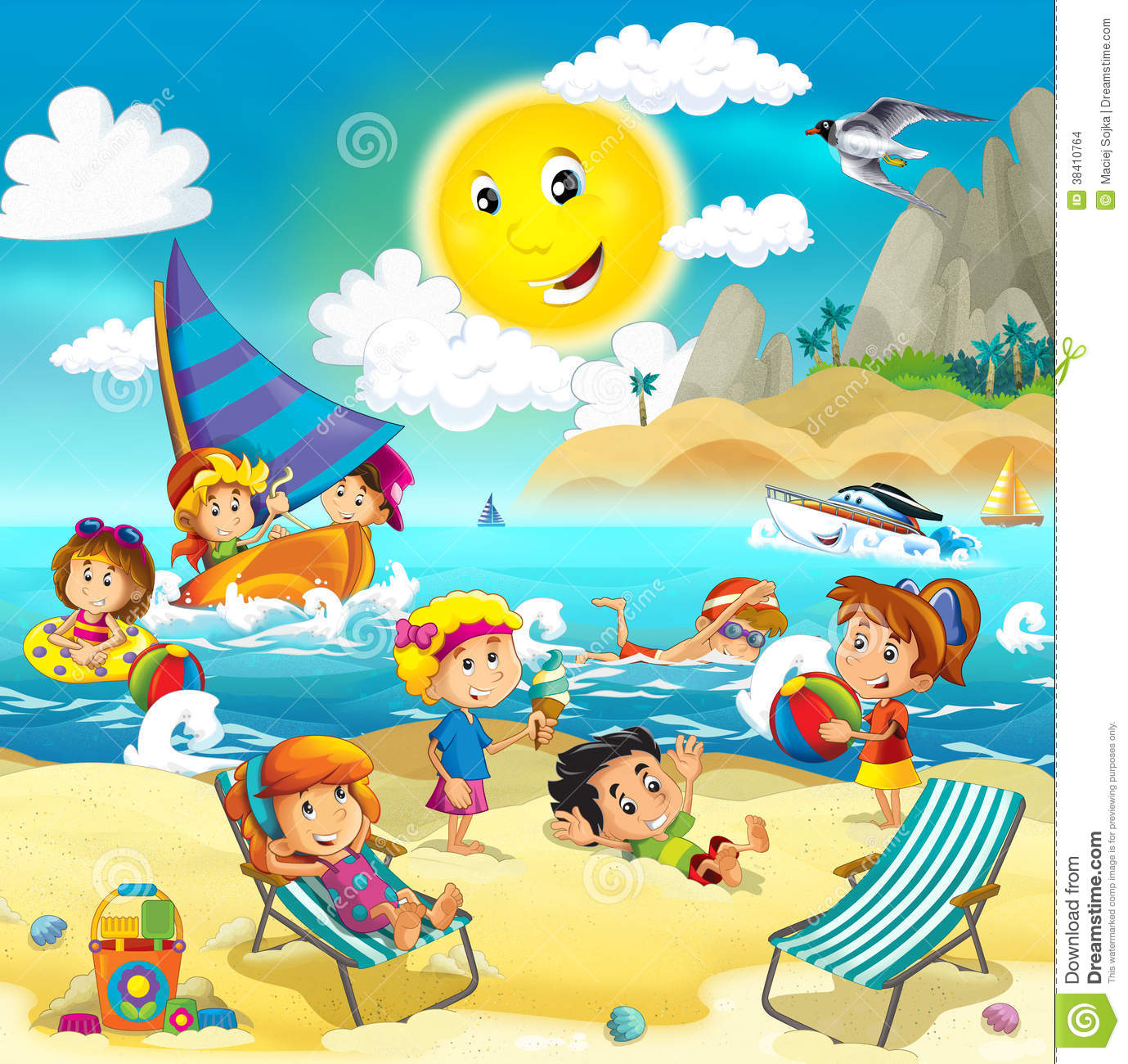 More similar stock images of   Kids playing at the beach - ocean  Kids Playing On The Beach Clipart