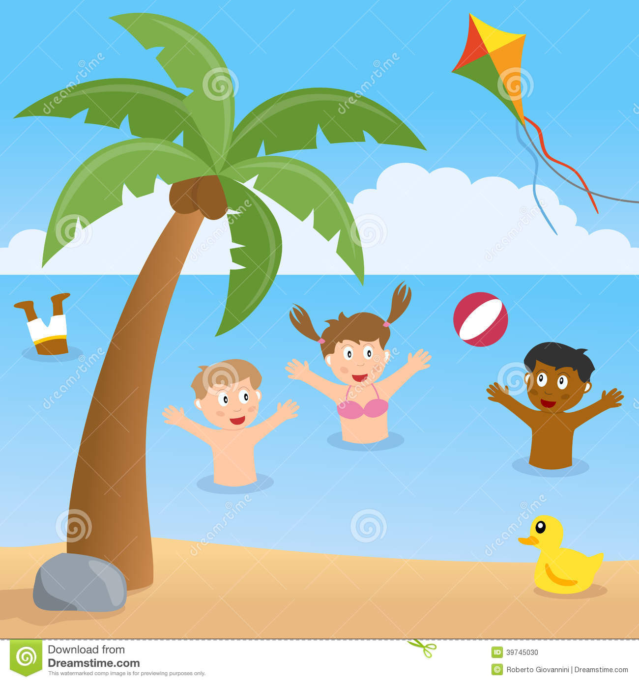 Beach Drawing For Kids Summer With Palm Tree And Stock