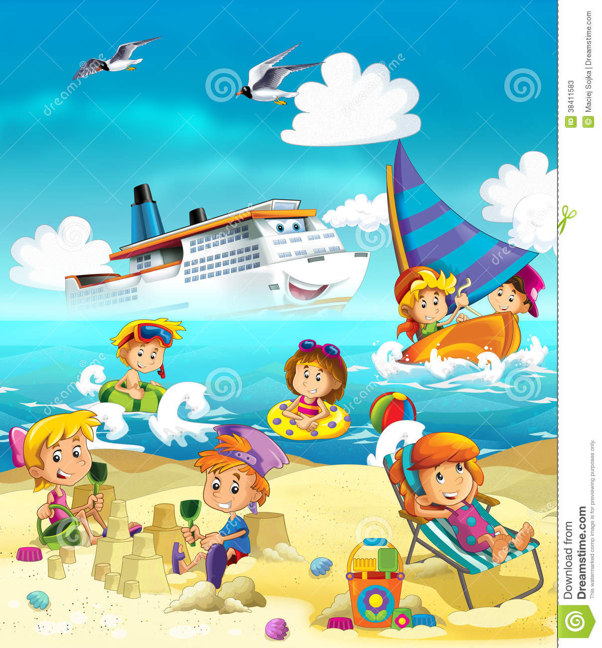 Kids Playing At The Beach Sea Stock Illustration