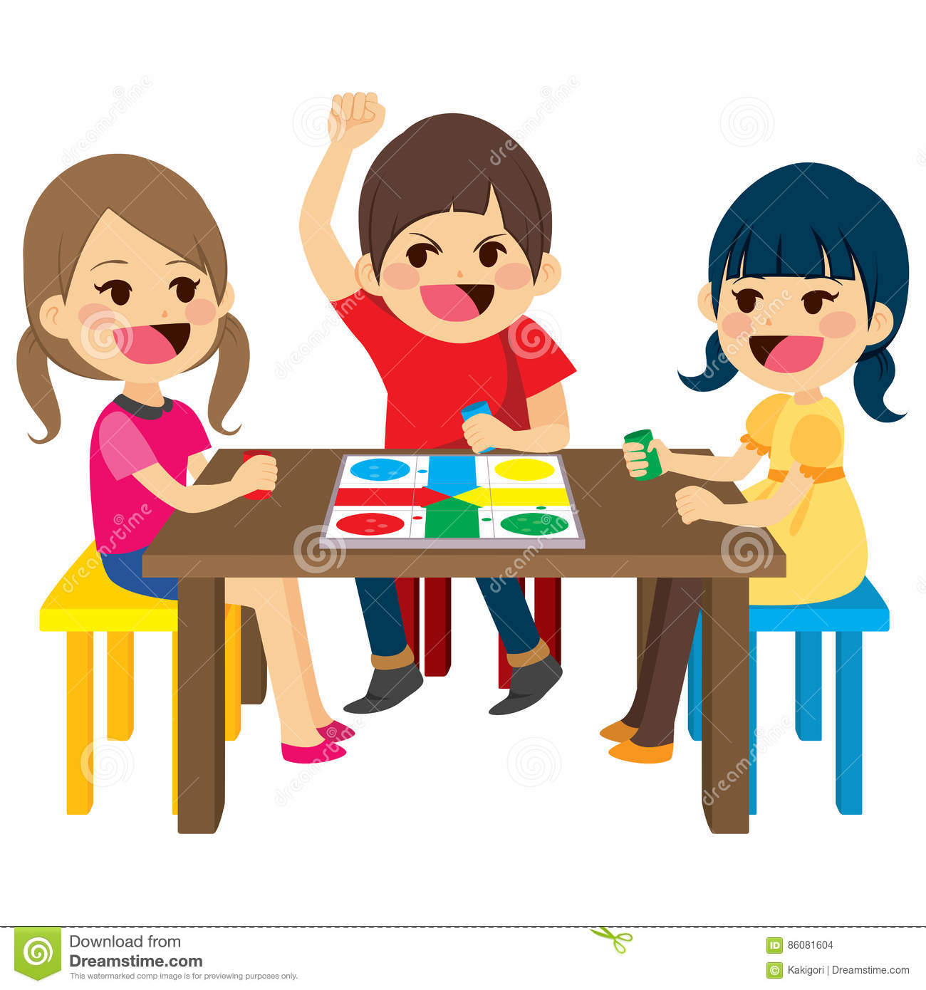 Kids Playing Board Game stock vector. Illustration of flat ...