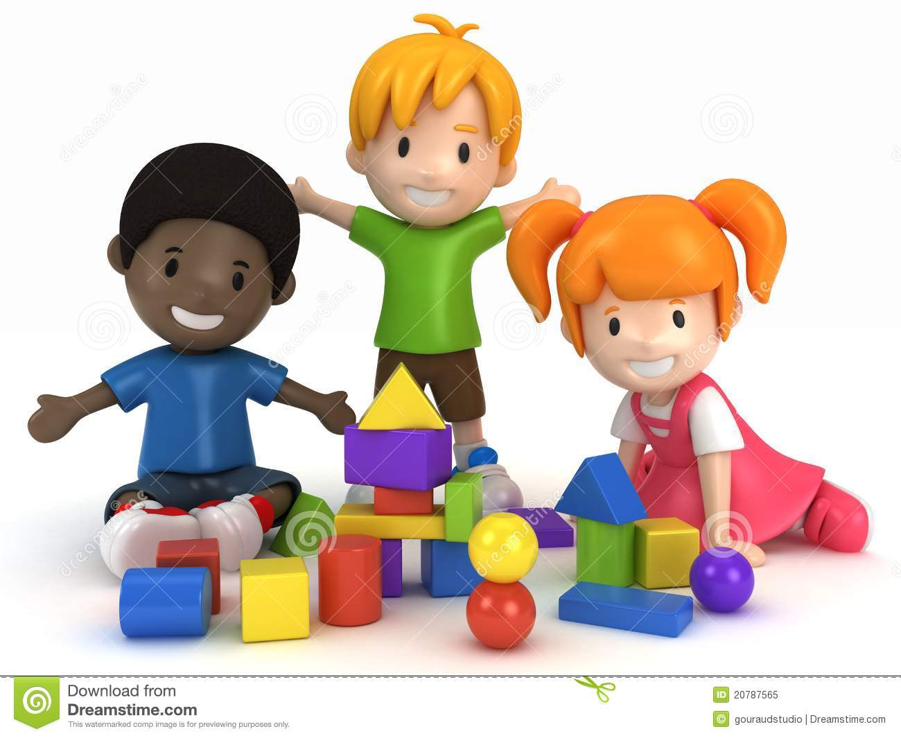 Construction Toys For Preschoolers : Kids playing building blocks stock illustration