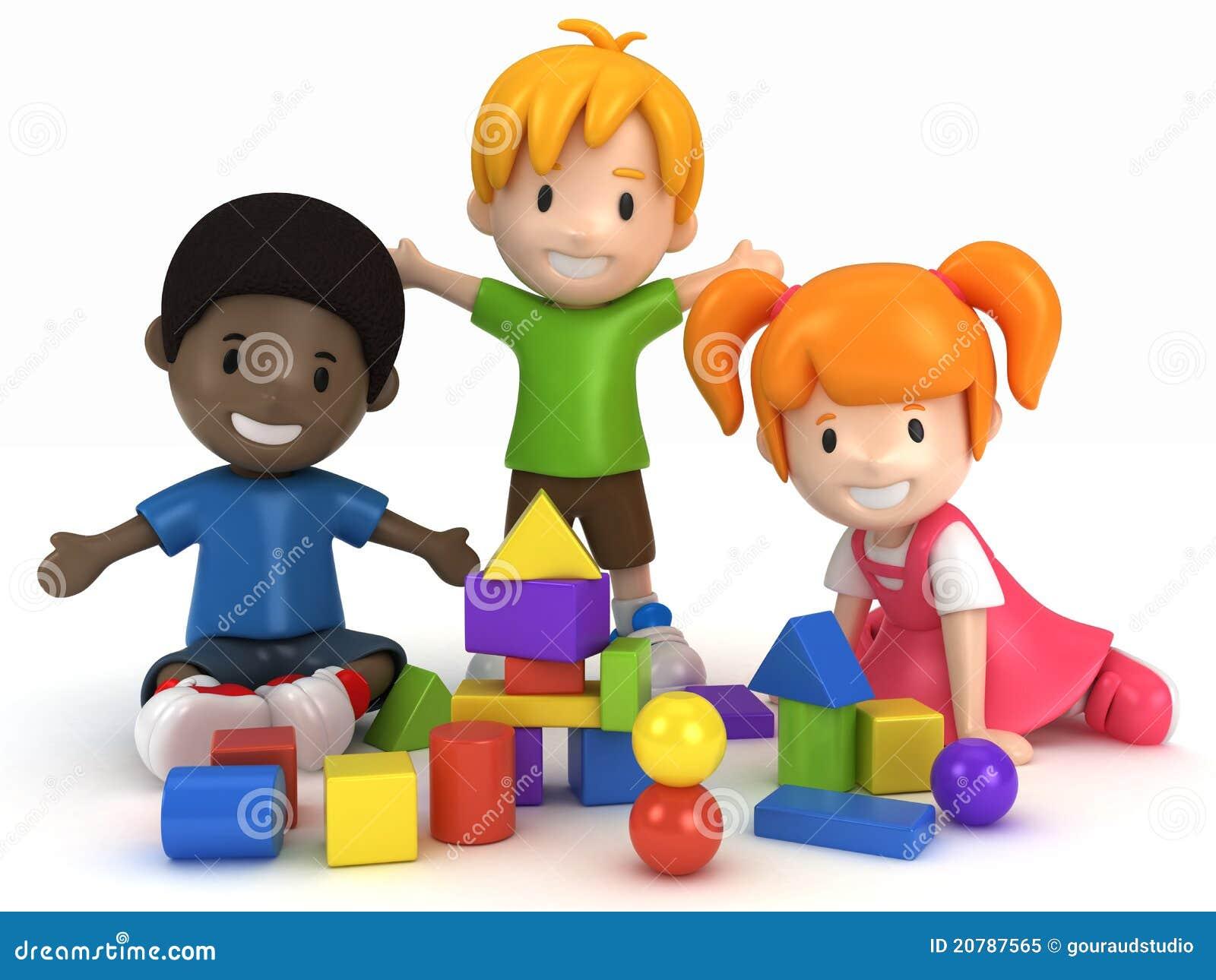 Royalty free stock photo kids playing building blocks