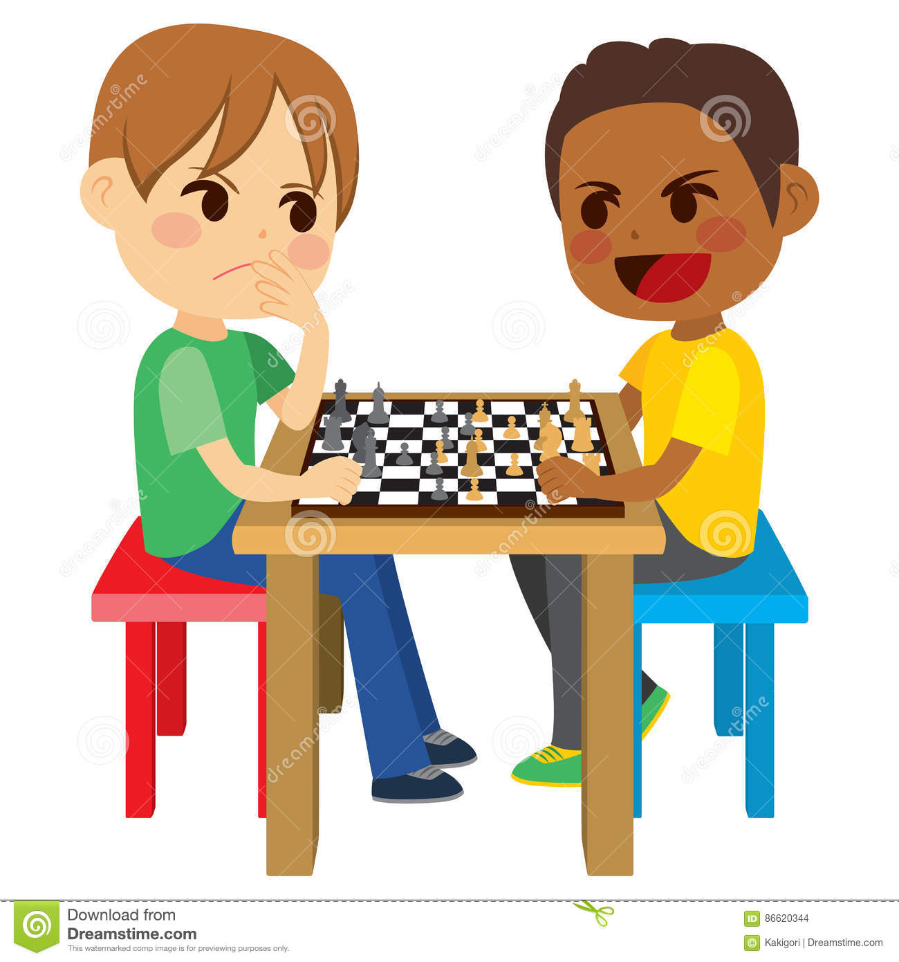 Kids Playing Chess stock vector. Illustration of smart ...