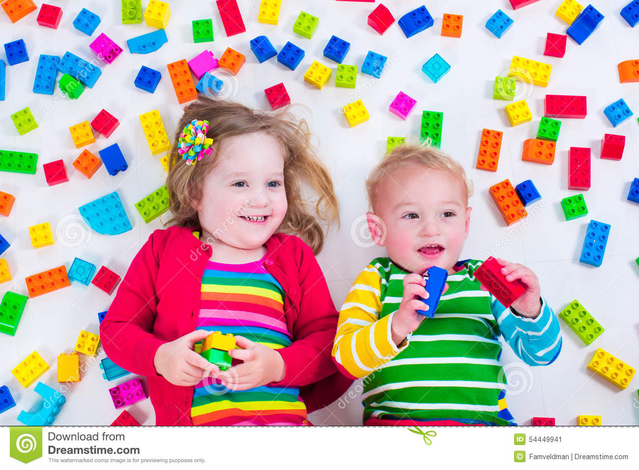 Kids Playing With Colorful Blocks Stock Image Image Of