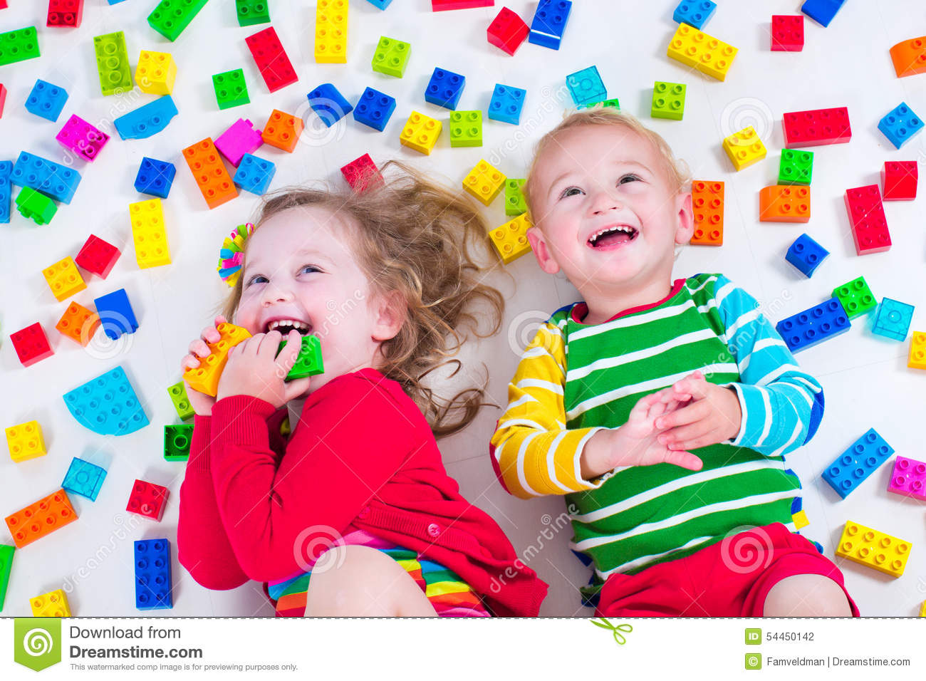 Kids Playing With Colorful Blocks Stock Photo - Image of creative ...