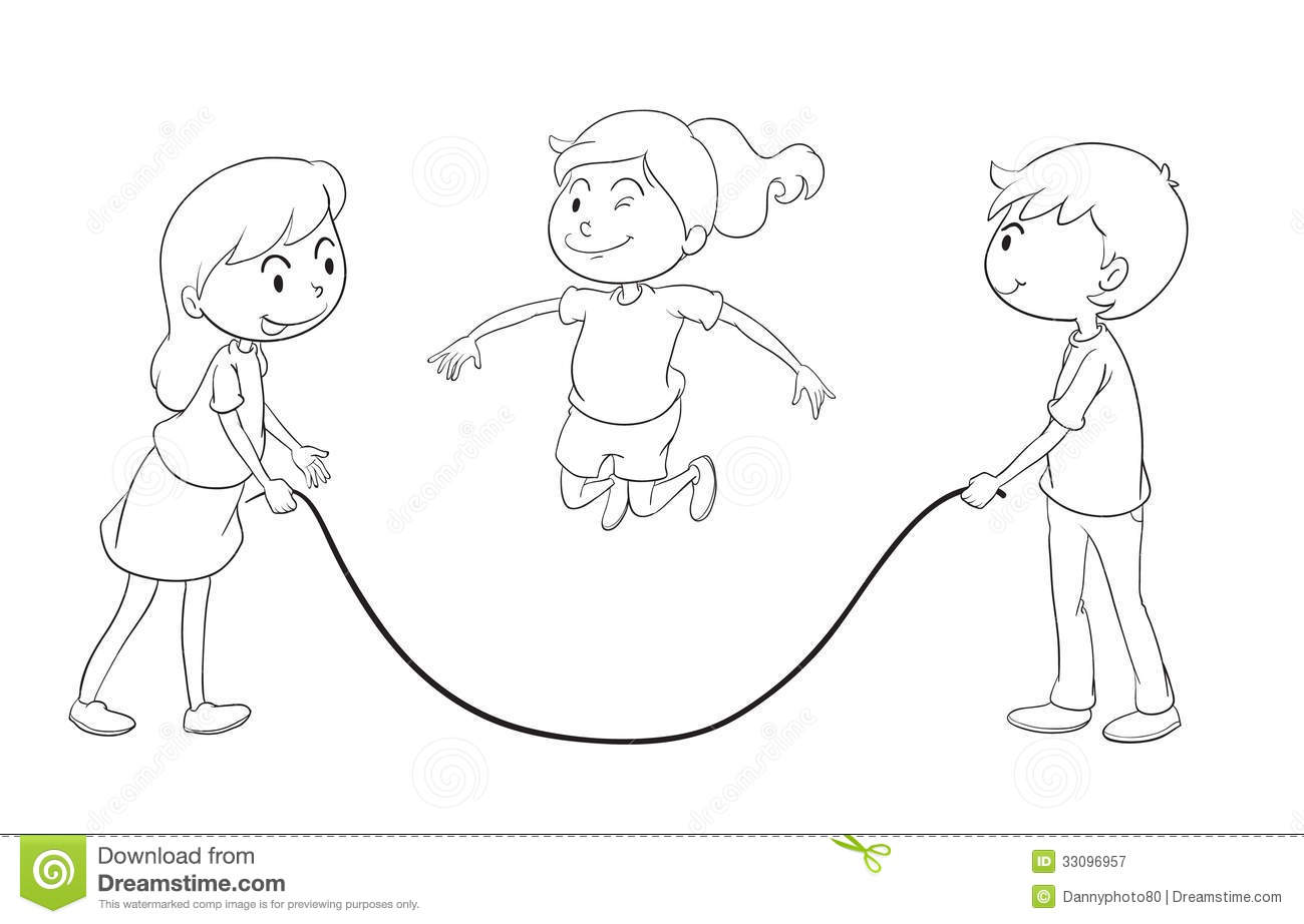 Line Drawing For Kids : Kids playing stock vector image of objects children