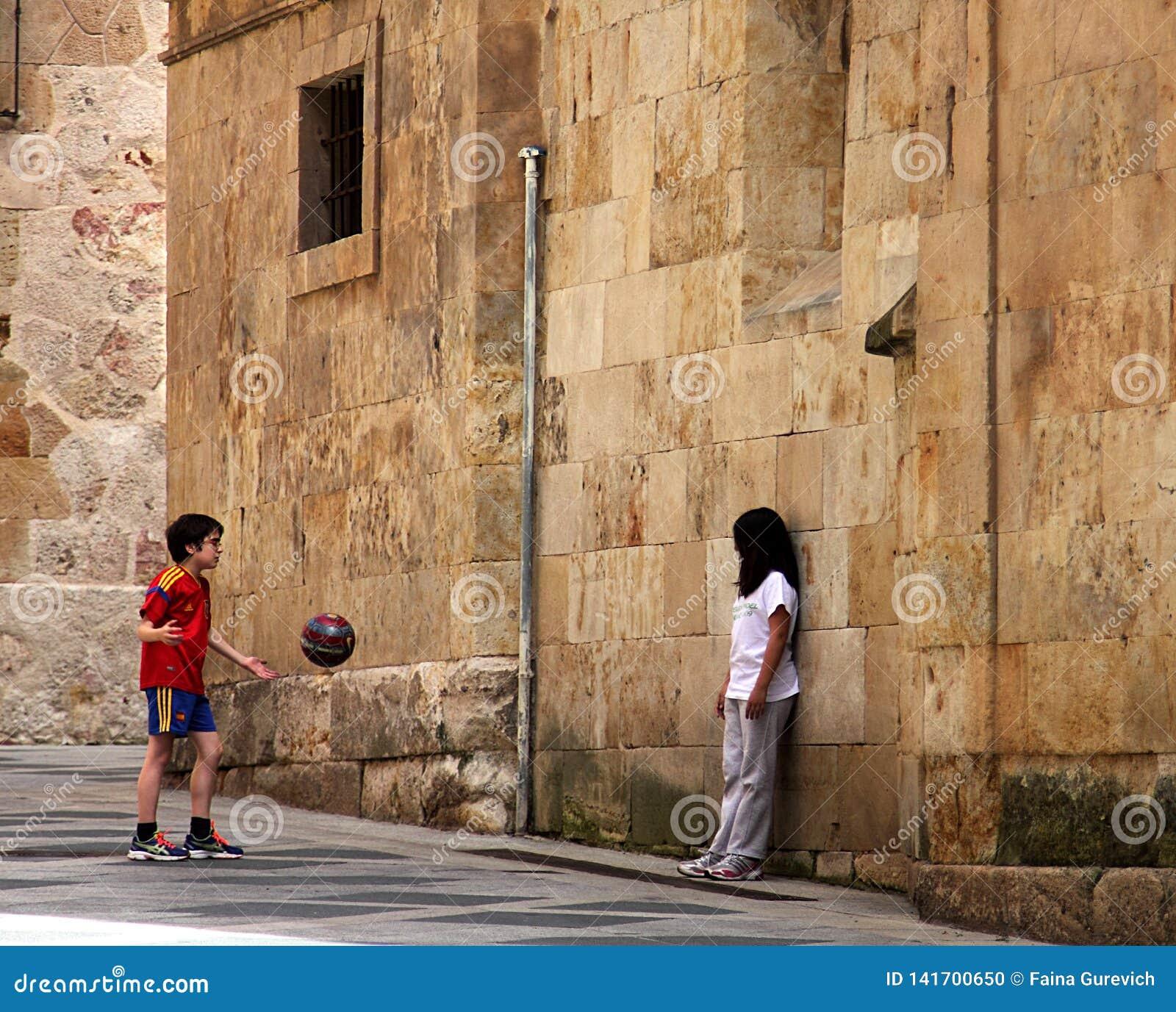 Kids playing in downtown of Salamanca