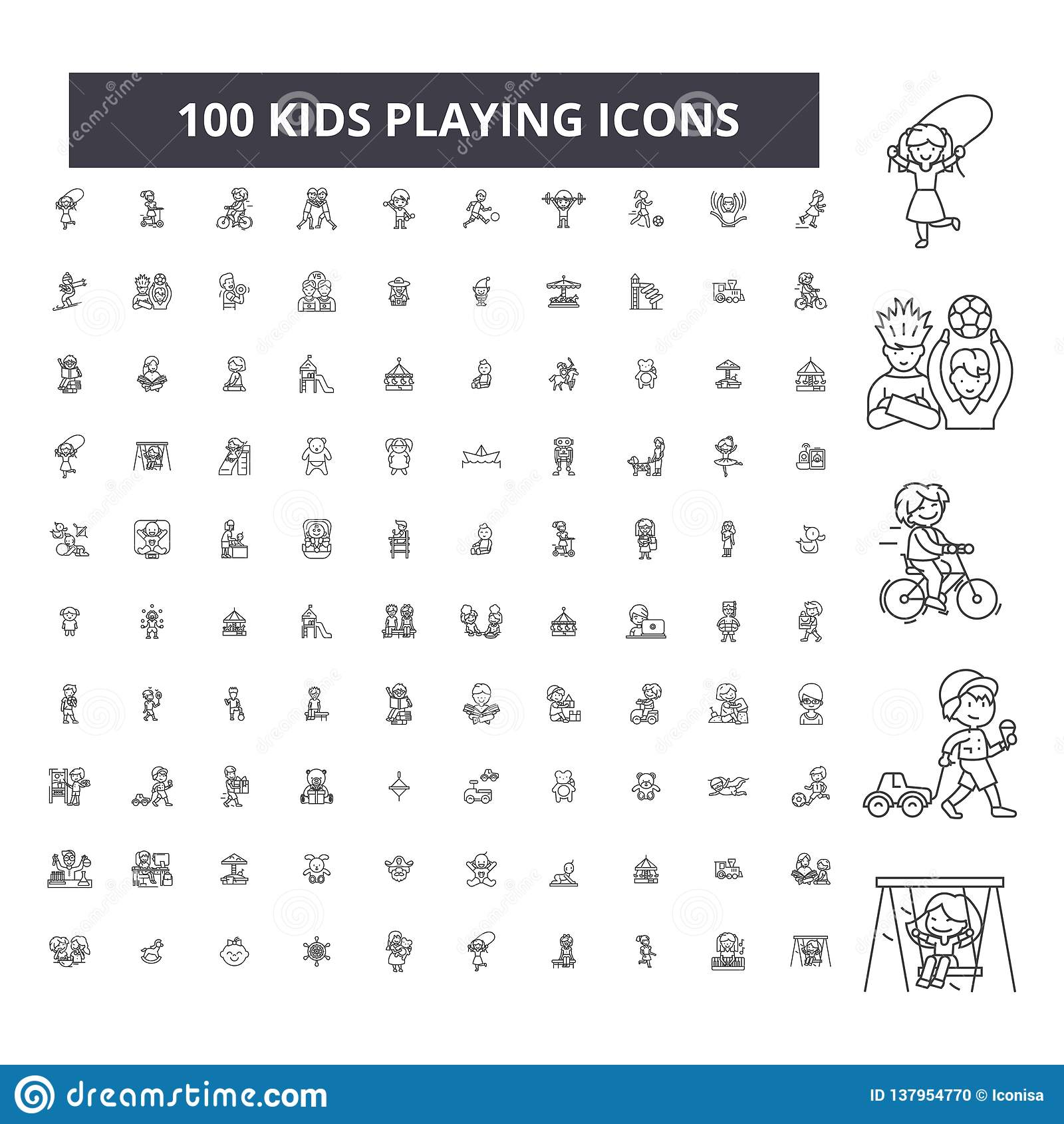 Kids playing editable line icons, 100 vector set, collection. Kids playing black outline illustrations, signs, symbols