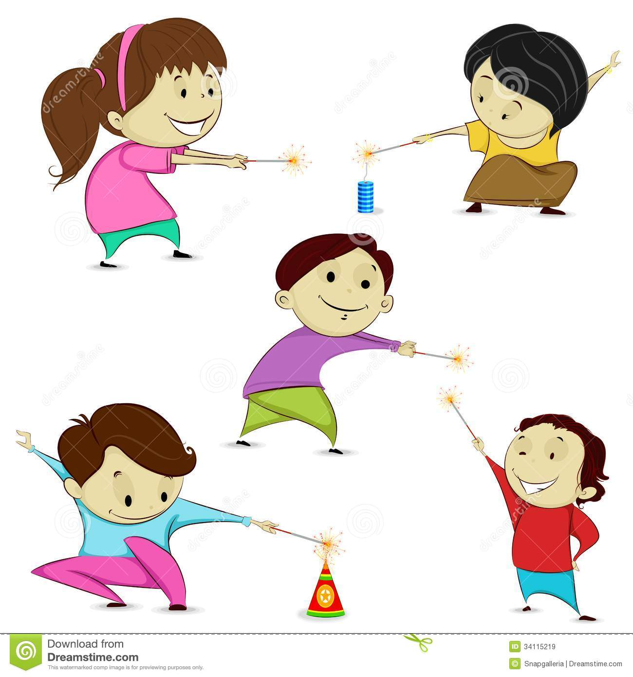Kids Playing With Firecracker Stock Vector Illustration Of