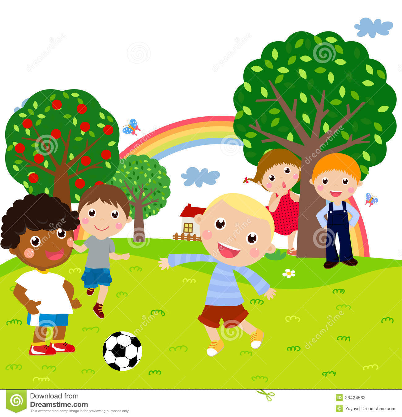 Cartoon Picture Of Kids Playing
