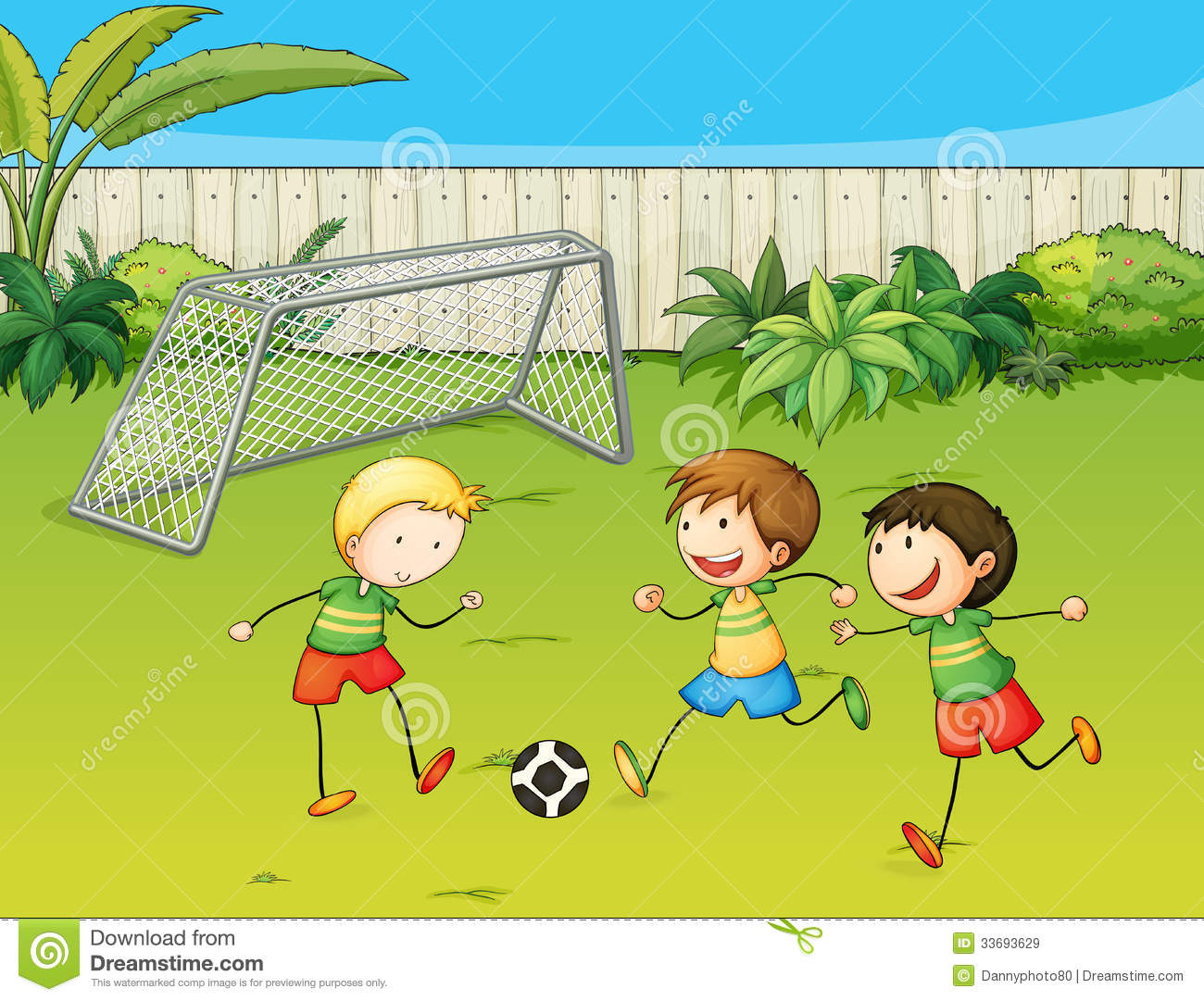 Kids Playing Football On Football Ground Stock Vector Illustration Of Plants Drawing 33693629