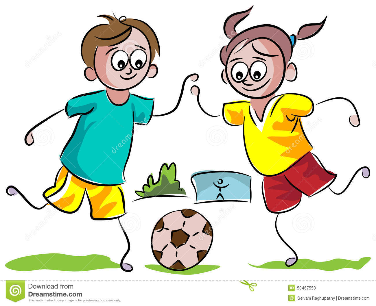 Kids playing football stock vector. Illustration of ...