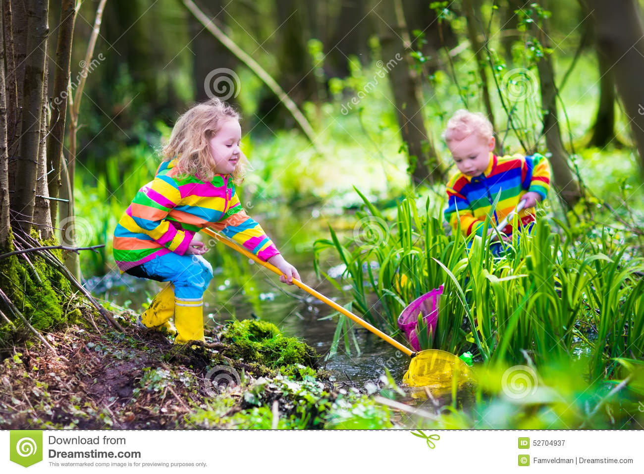 Kinder Garden: Kids Playing With Frog Stock Image. Image Of Messy