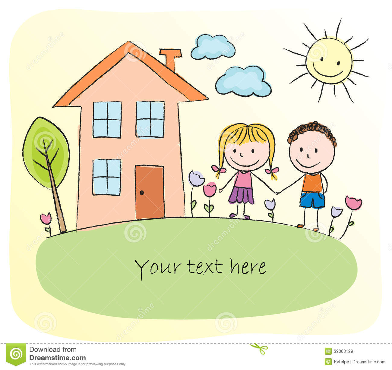 kids sketch of happy family with house stock vector image 44037528