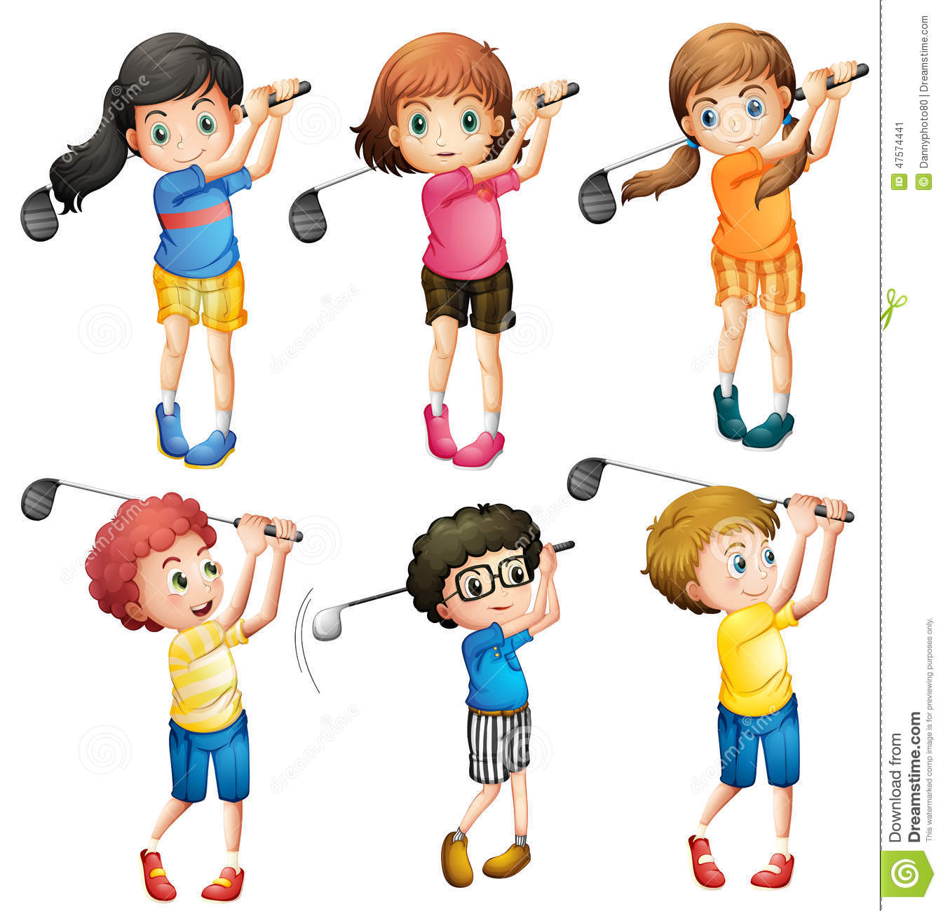 Kids Playing Golf Stock Vector - Image: 47574441 Kid Golfer Clipart