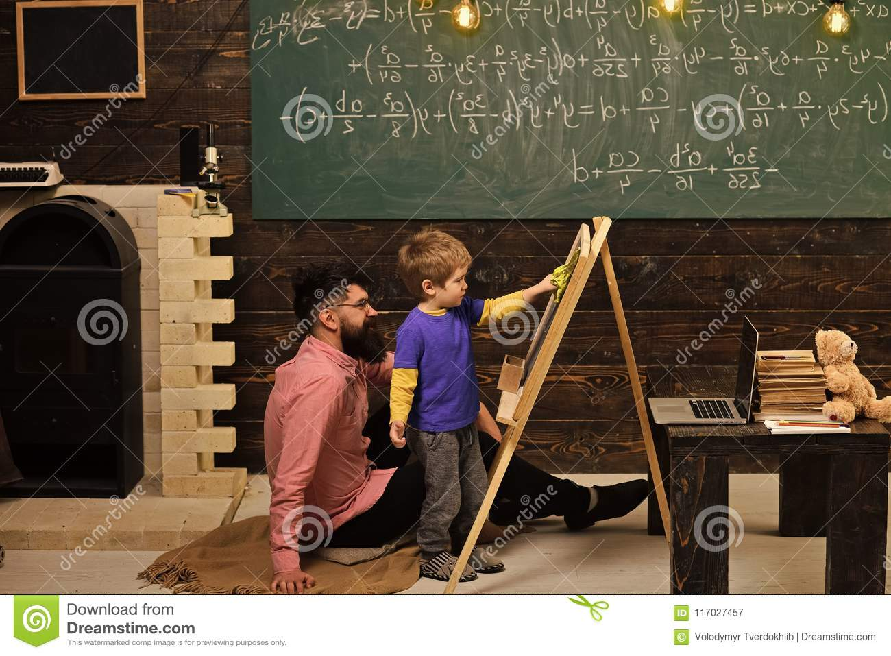 Kids Playing - Happy Game. Teacher And Little Student Learning Math ...