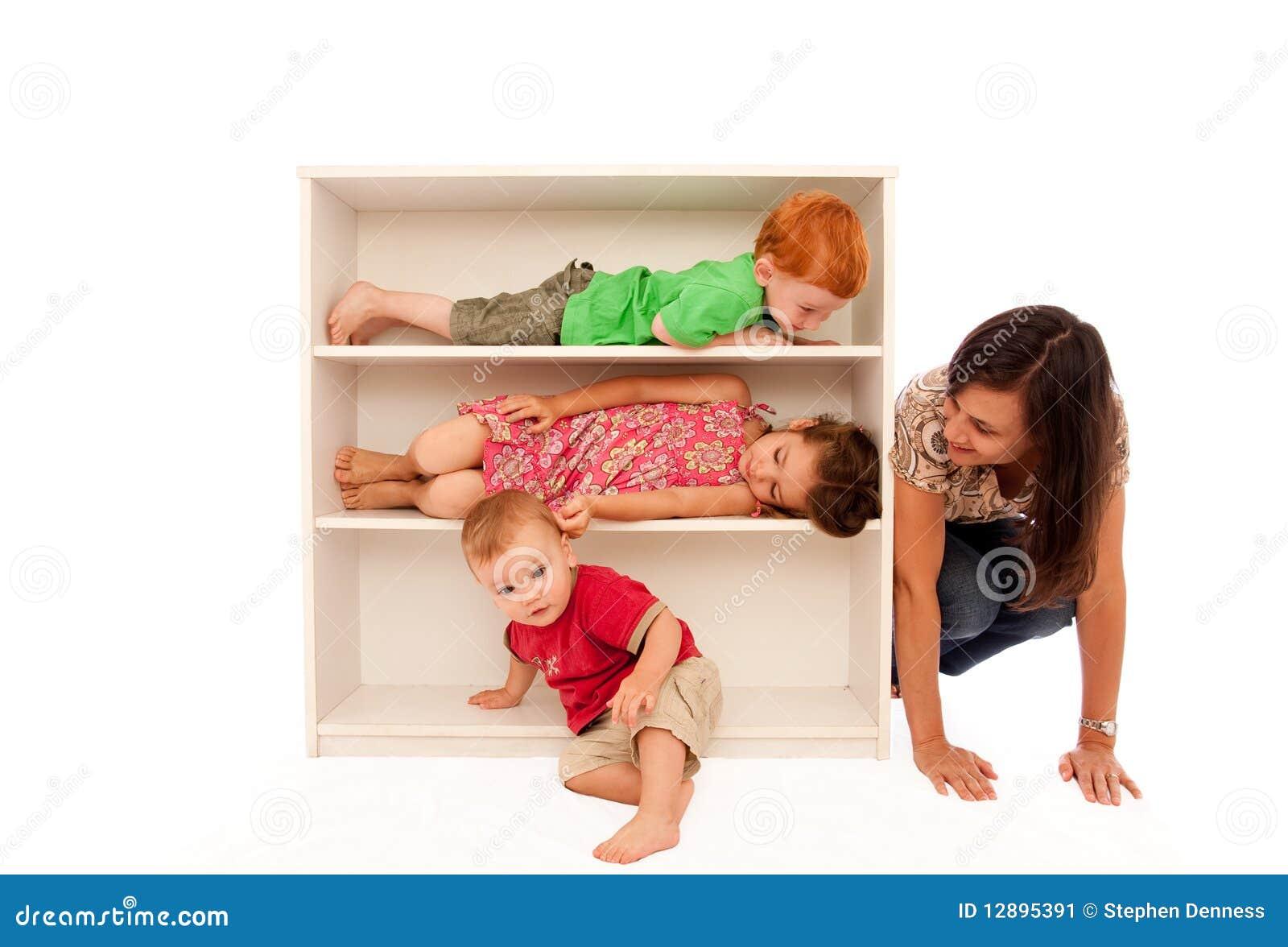 Hide Seek Kids: Kids Playing Hide And Seek With Mum Stock Image