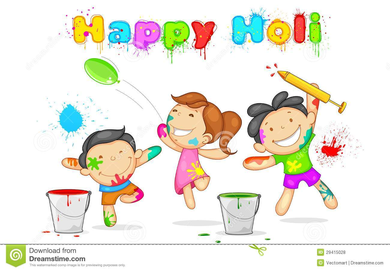 Kids Playing Holi Stock Vector. Illustration Of Childhood - 29415028