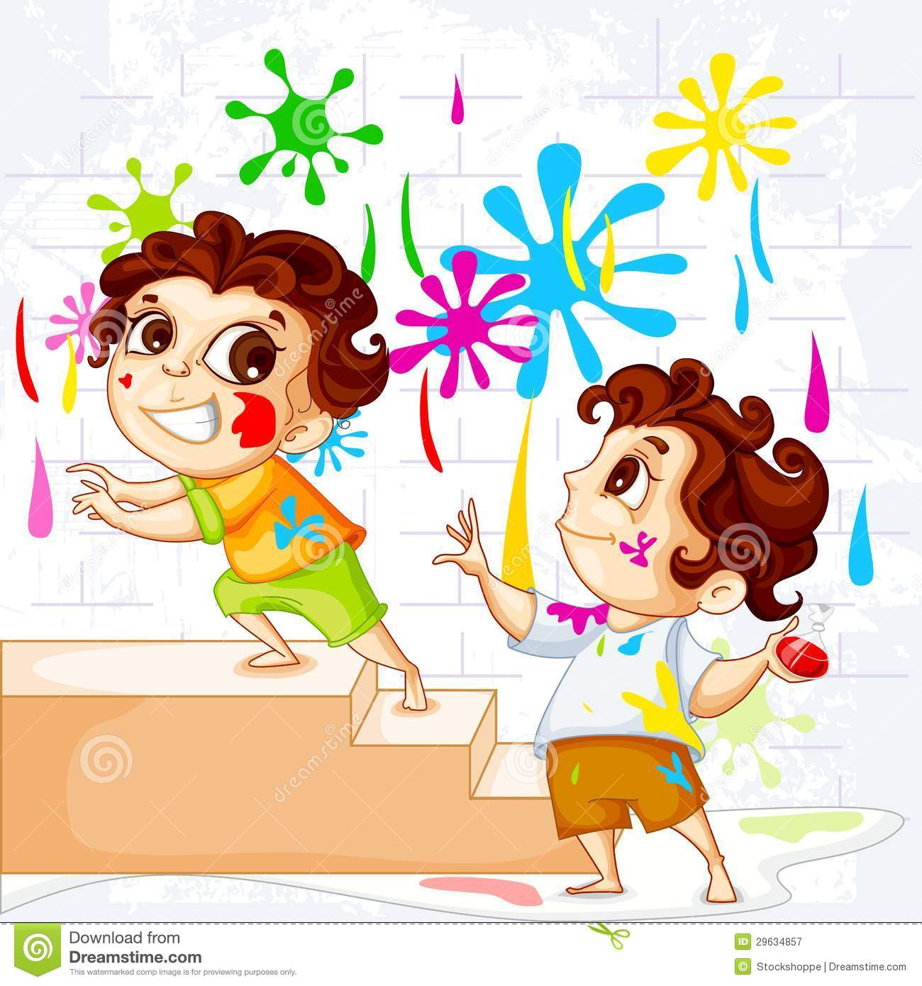 Colouring pages holi - Kids Playing Holi Festival Royalty Free Stock Photography Image