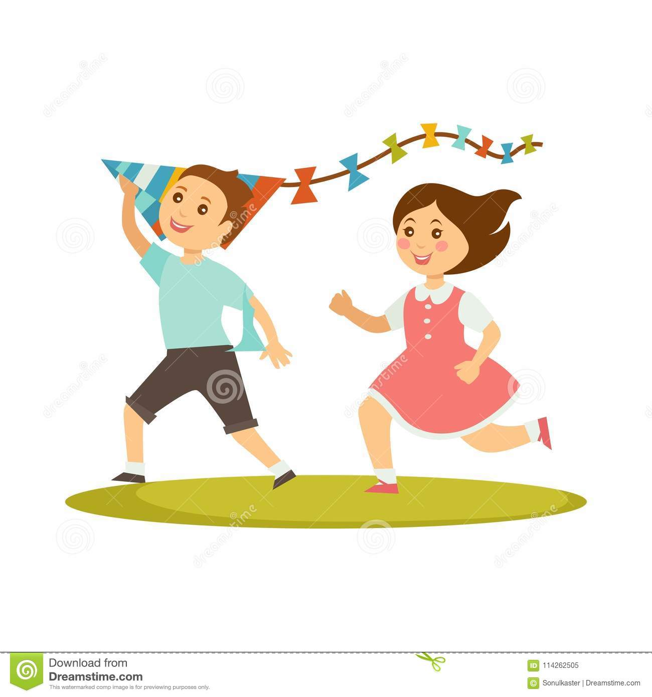 Kids Playing With Kite Toy Vector Cartoon Boy And Girl Stock Vector