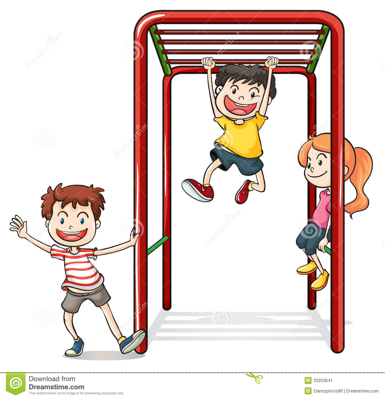 Illustration of kids playing with a monkey bars on a white background.
