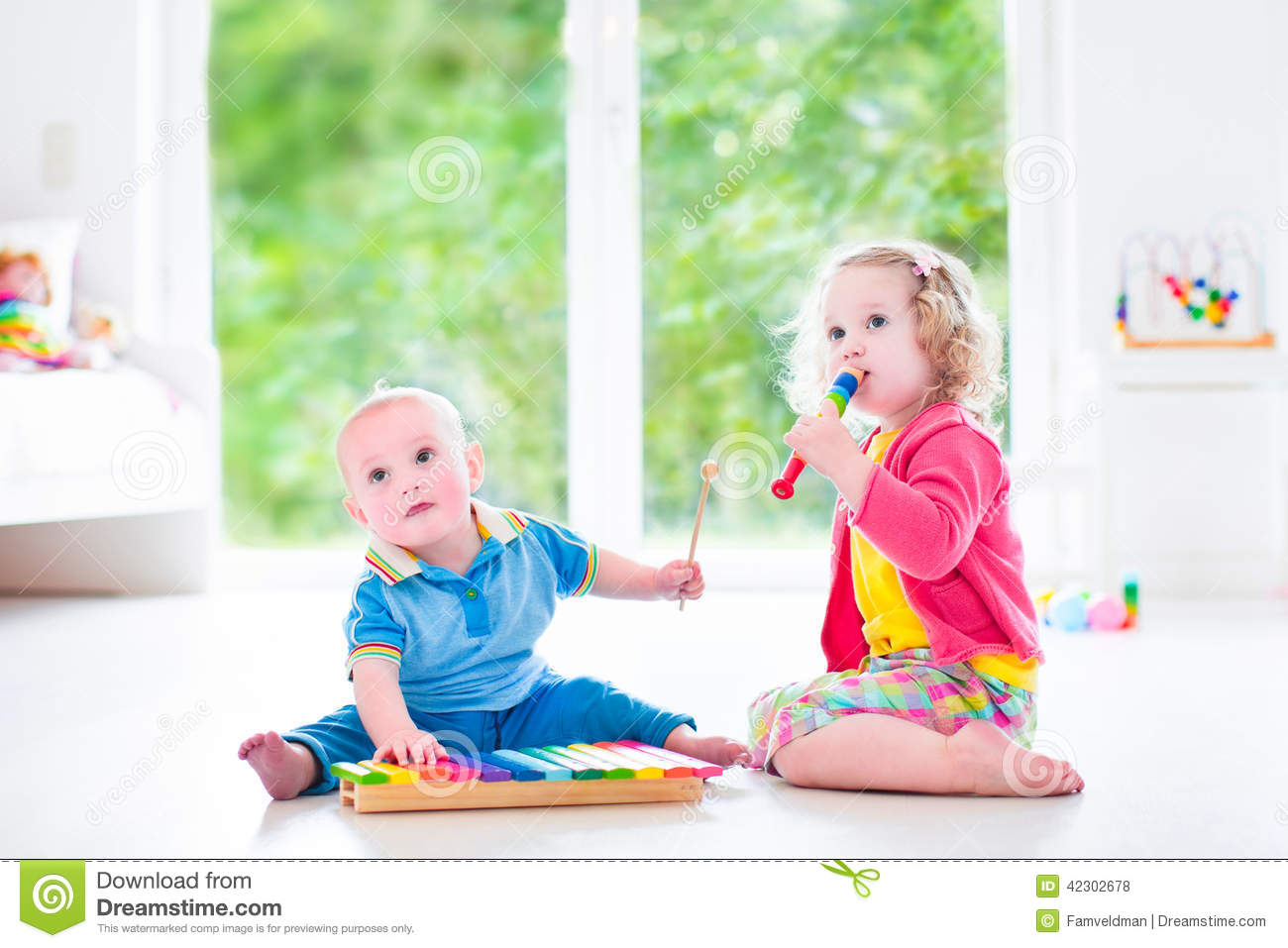 Kids Playing Music With Xylophone Stock Photo Image