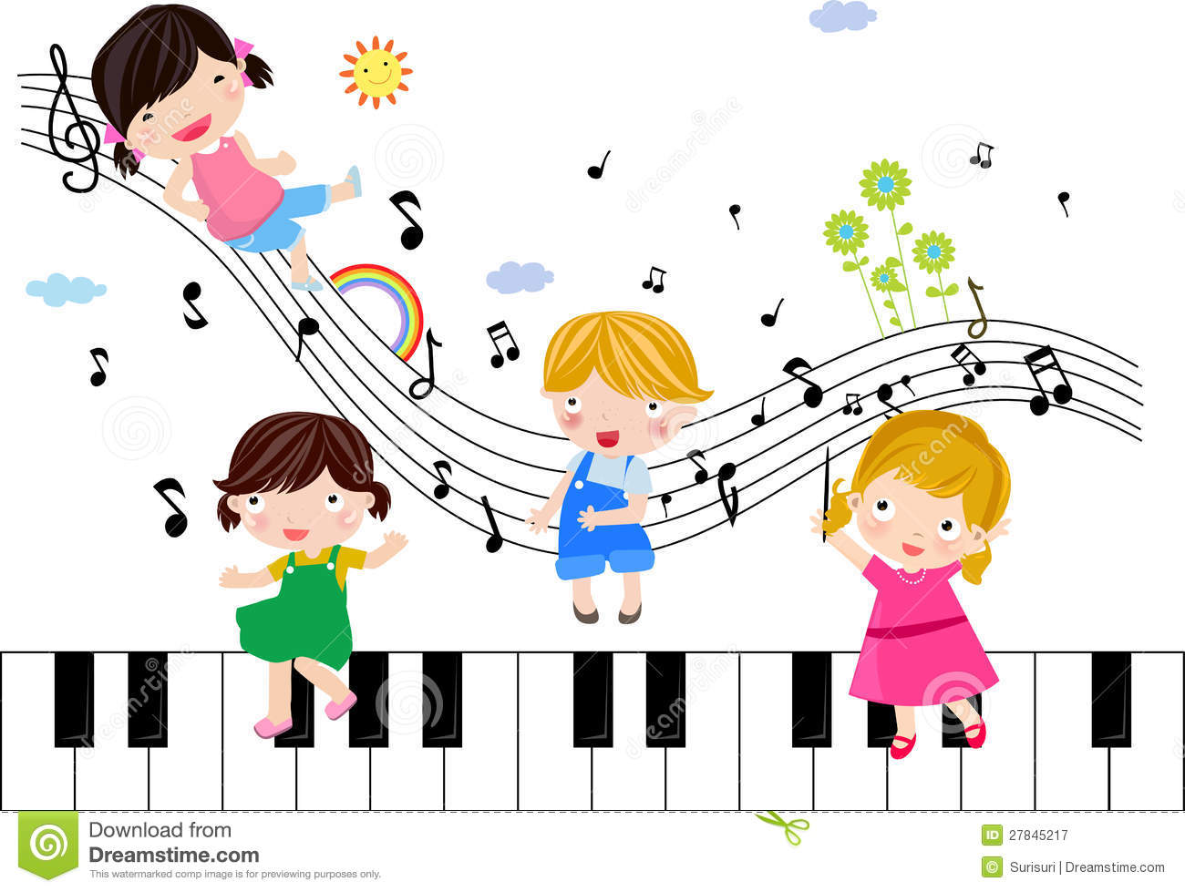 Kids Playing With Musical Notes Royalty Free Stock Photography - Image ...