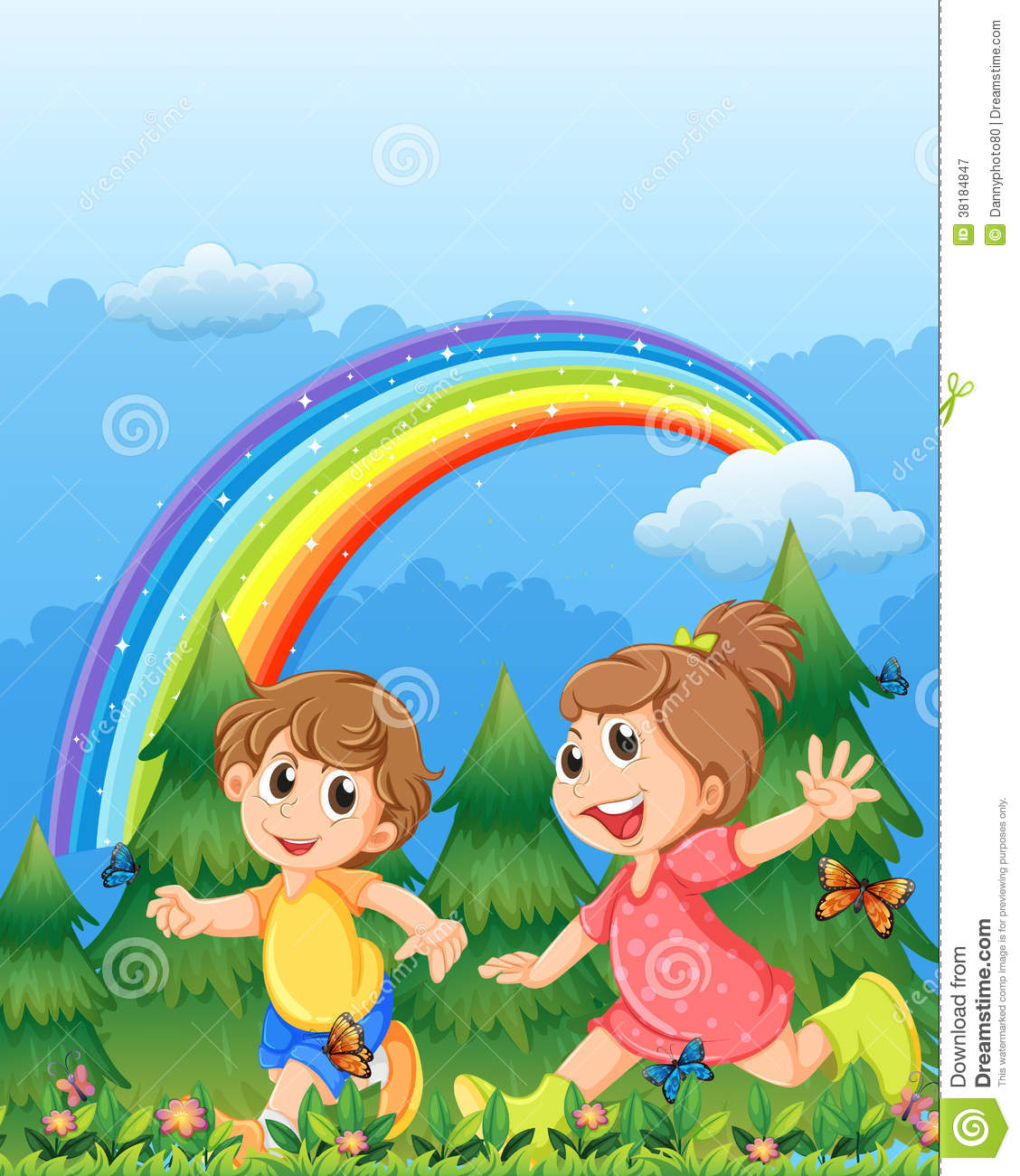 Kids Playing Near The Garden With A Rainbow Stock Vector ...