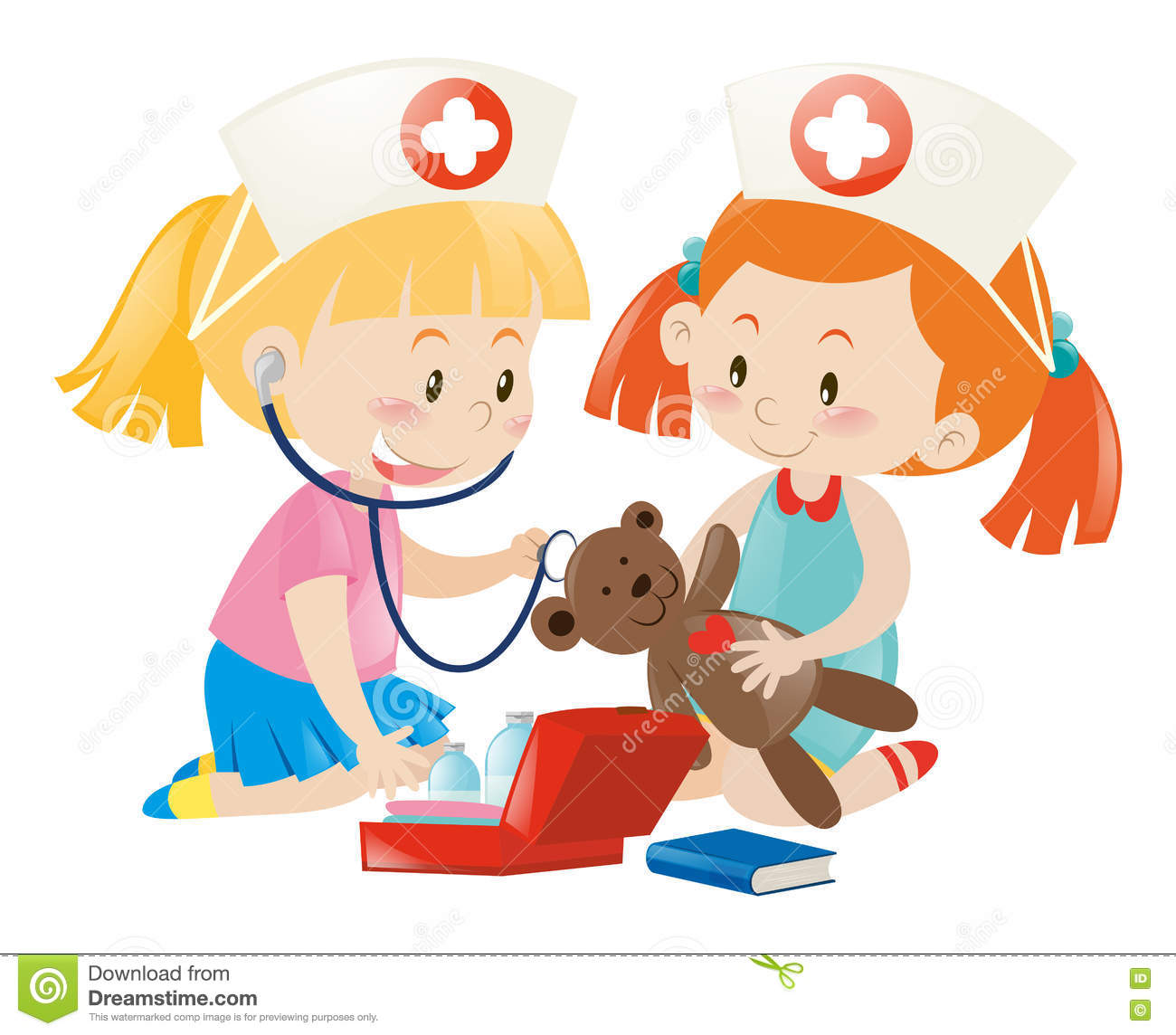Kids Playing Nurse With Doll Stock Vector - Image: 81168132